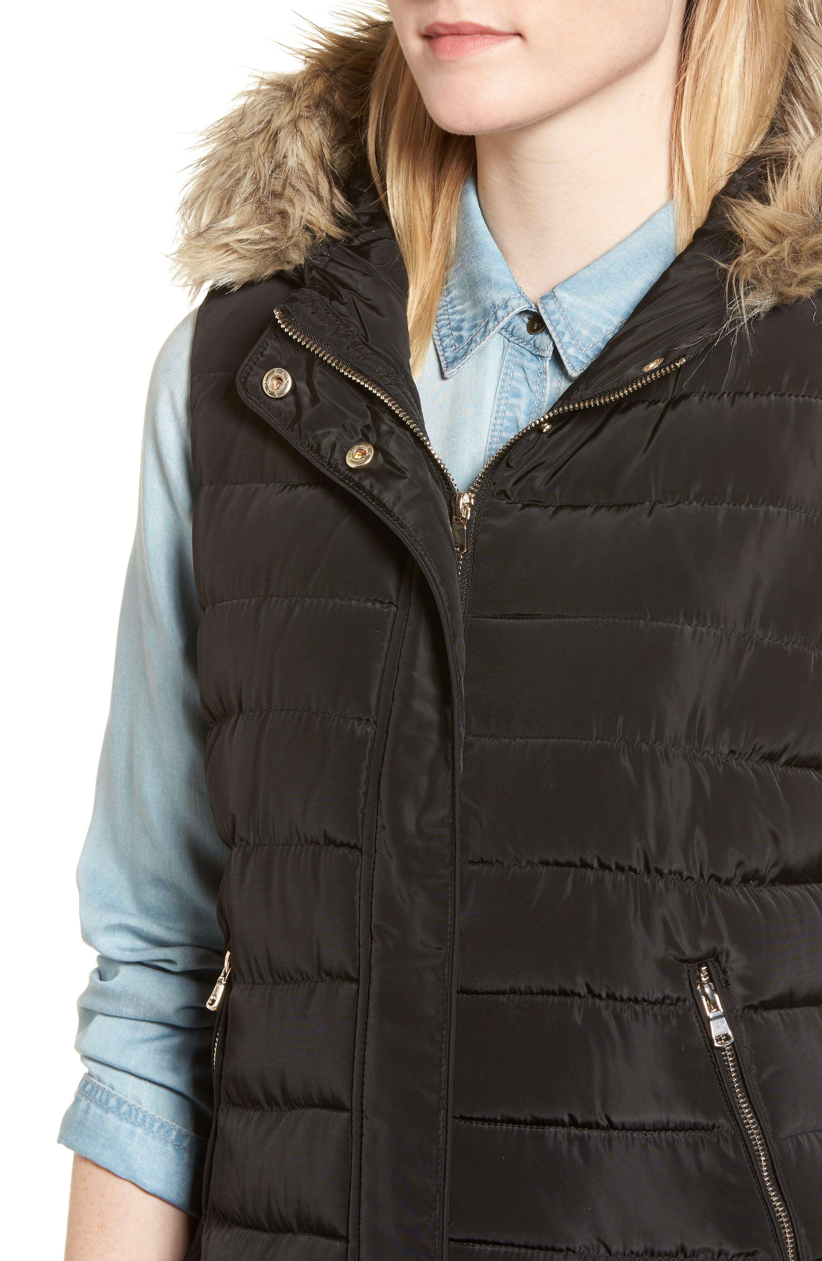 Faux Fur Trim Hooded Quilted Vest,                             Alternate thumbnail 4, color,                             001