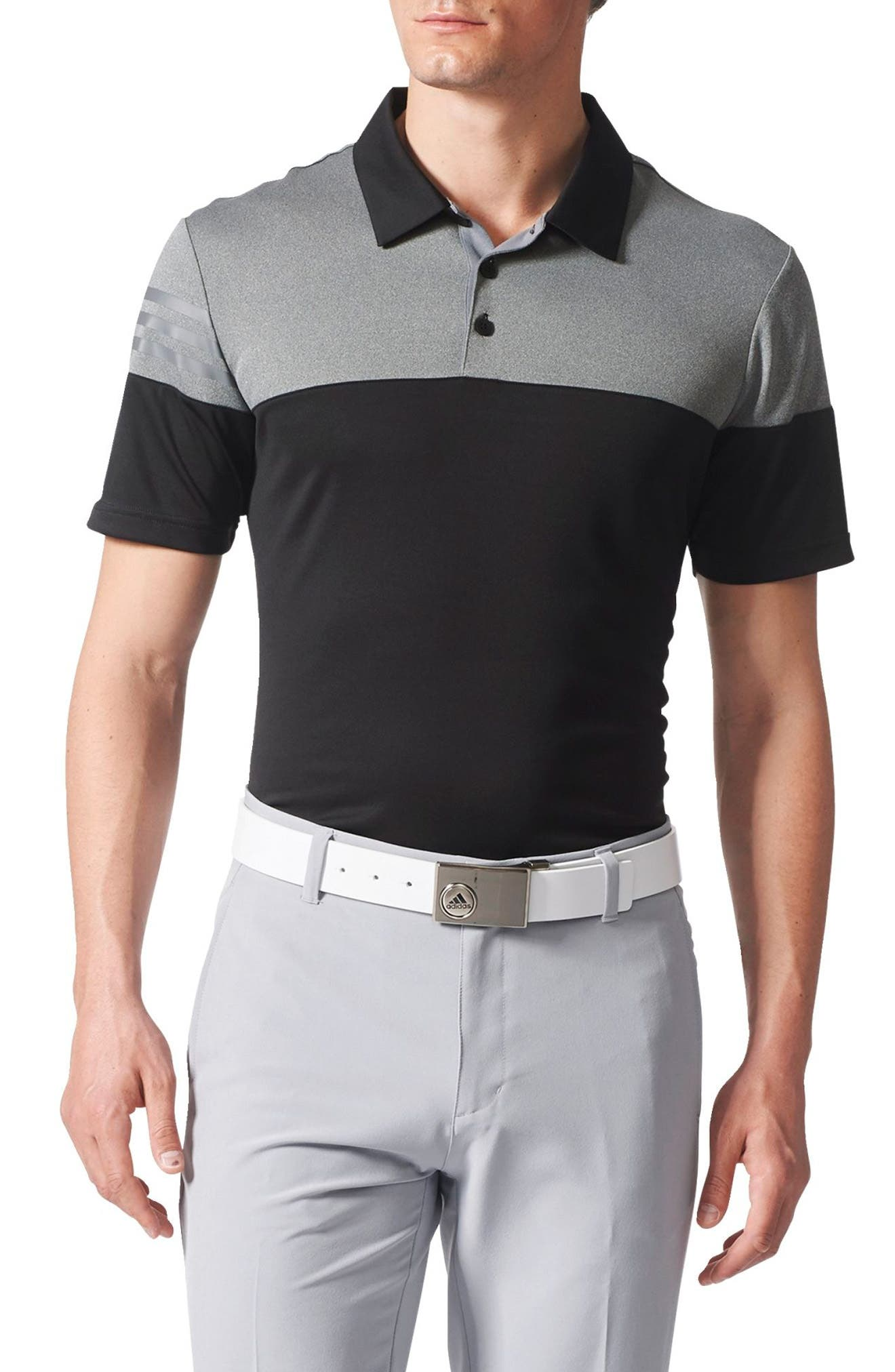 3 Stripe Block Golf Polo,                             Main thumbnail 1, color,                             001