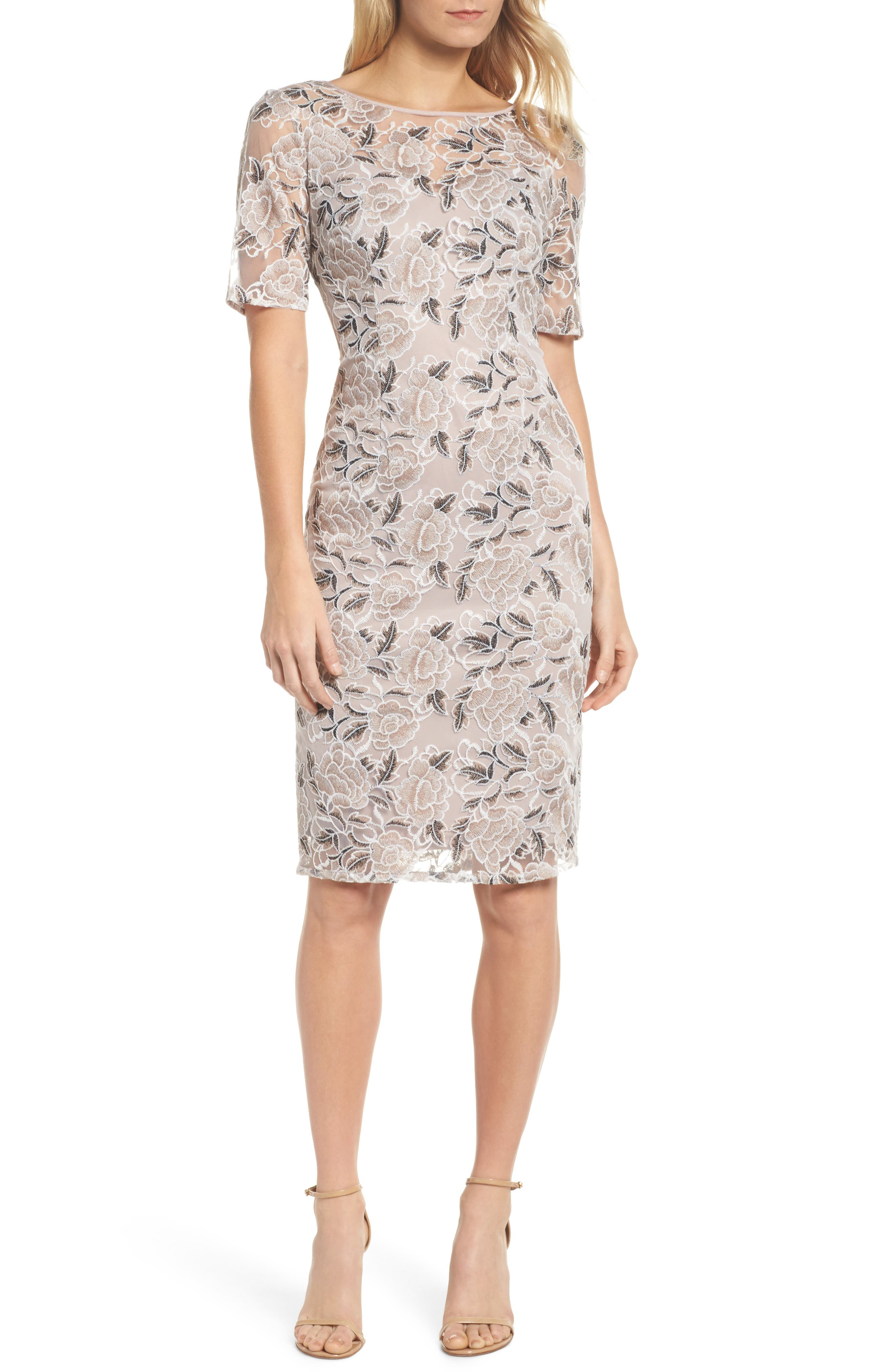 Suzette Embroidered Sheath Dress,                         Main,                         color,