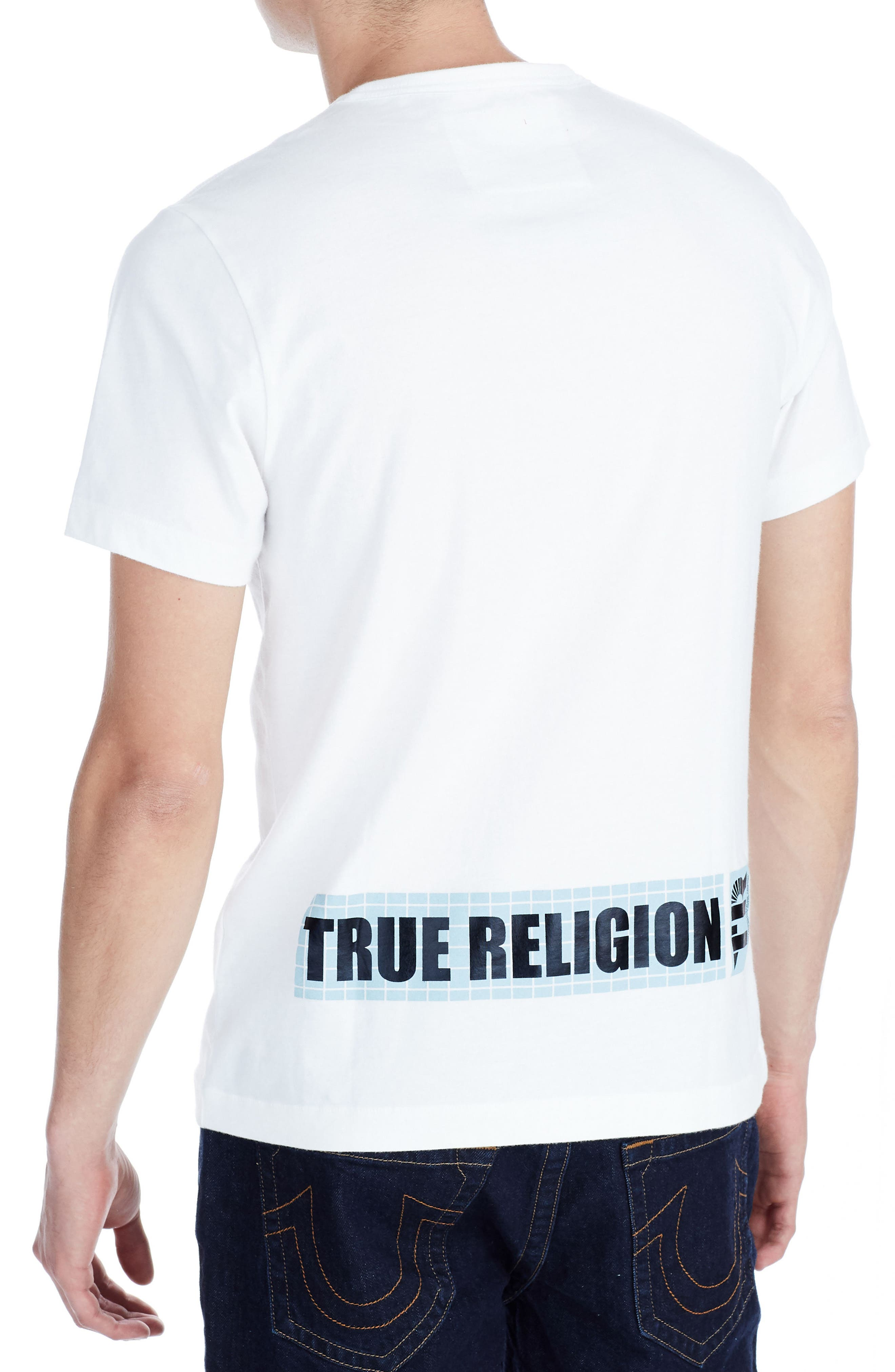 TRUE RELIGION BRAND JEANS,                             Warped Vision T-Shirt,                             Alternate thumbnail 2, color,                             100