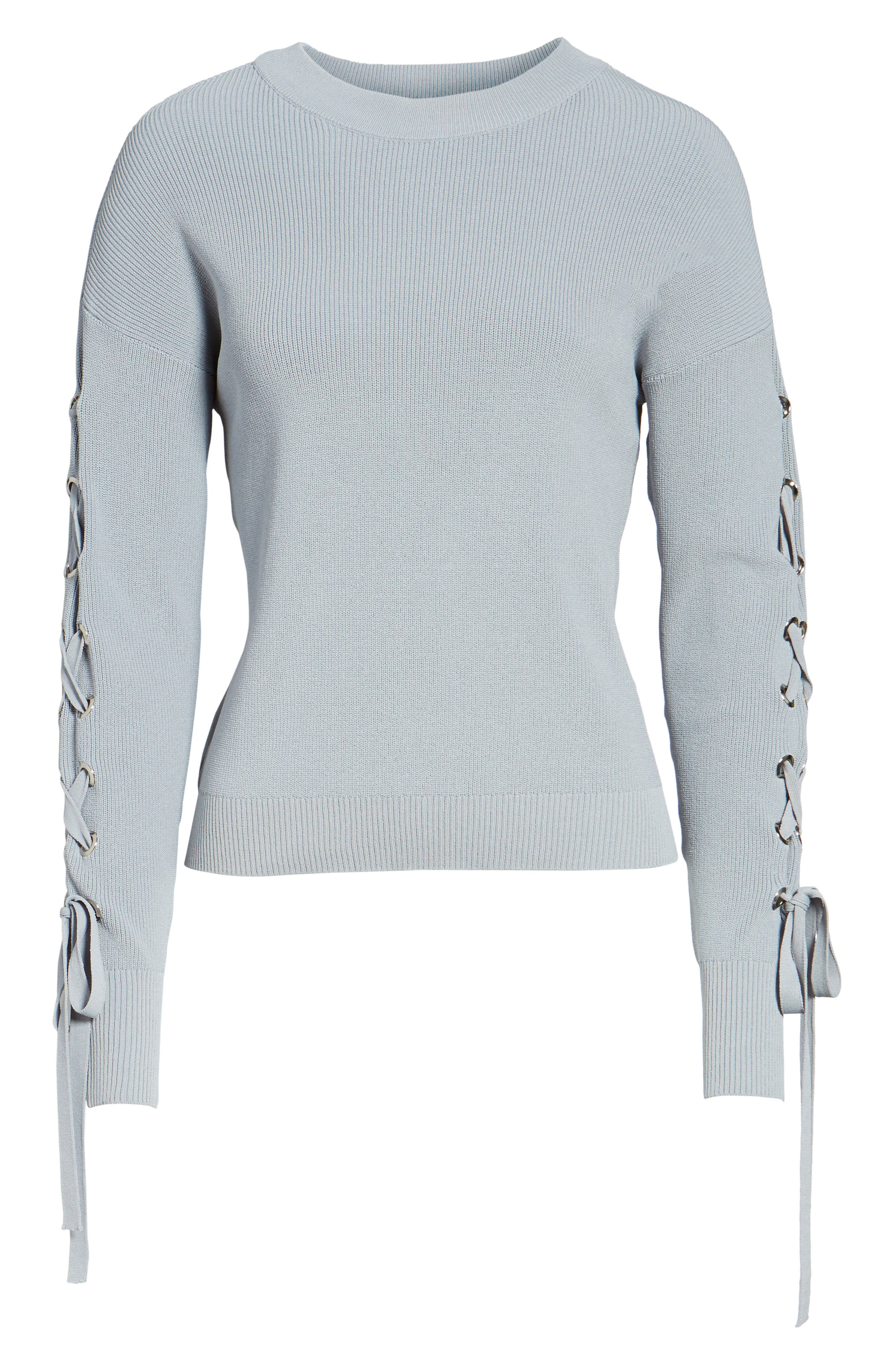 Lace-Up Sleeve Sweater,                             Alternate thumbnail 6, color,                             400