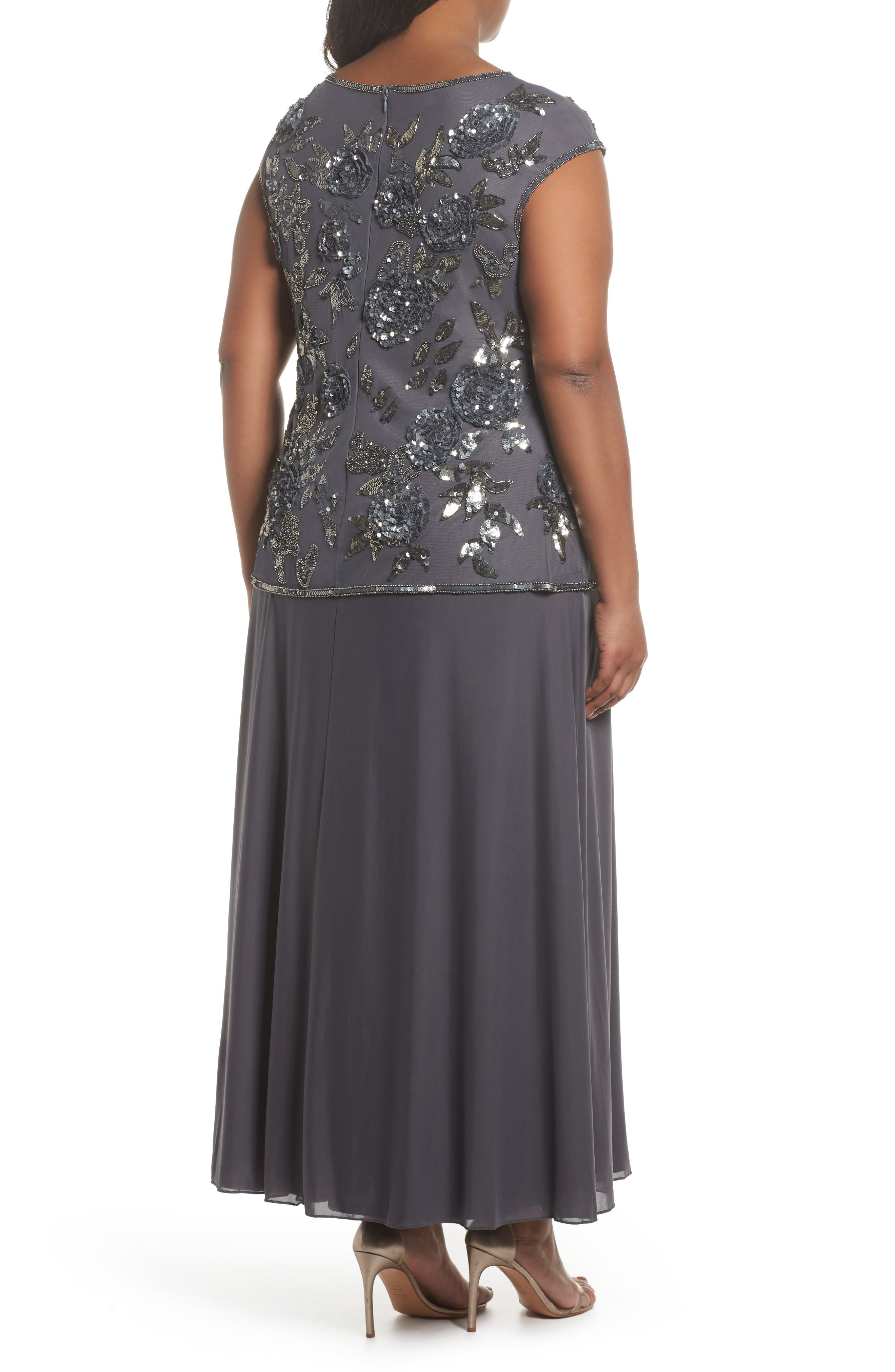 Embellished Mock Two-Piece Gown,                             Alternate thumbnail 2, color,