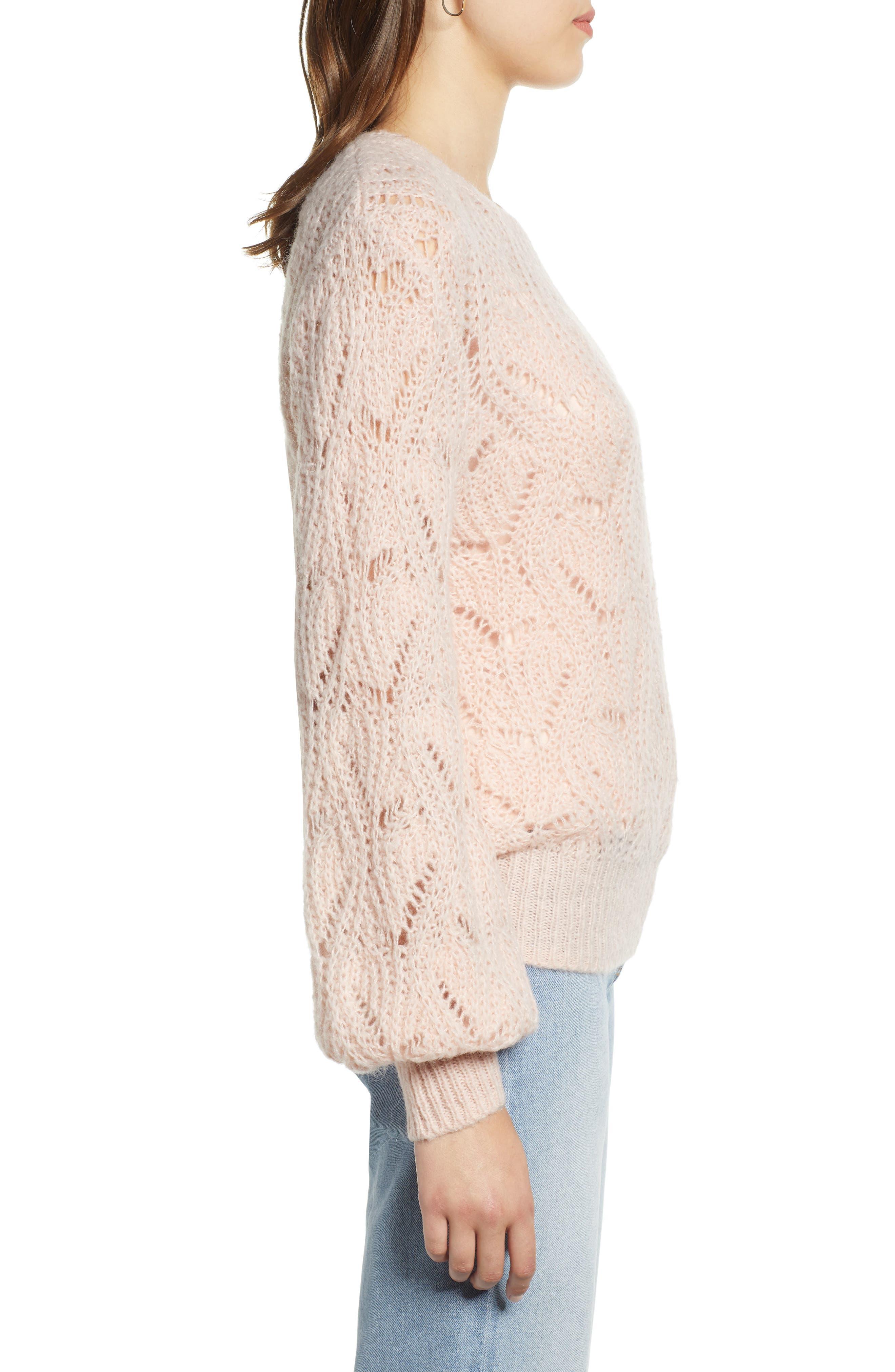 Pointelle Balloon Sleeve Sweater,                             Alternate thumbnail 3, color,                             PINK SMOKE