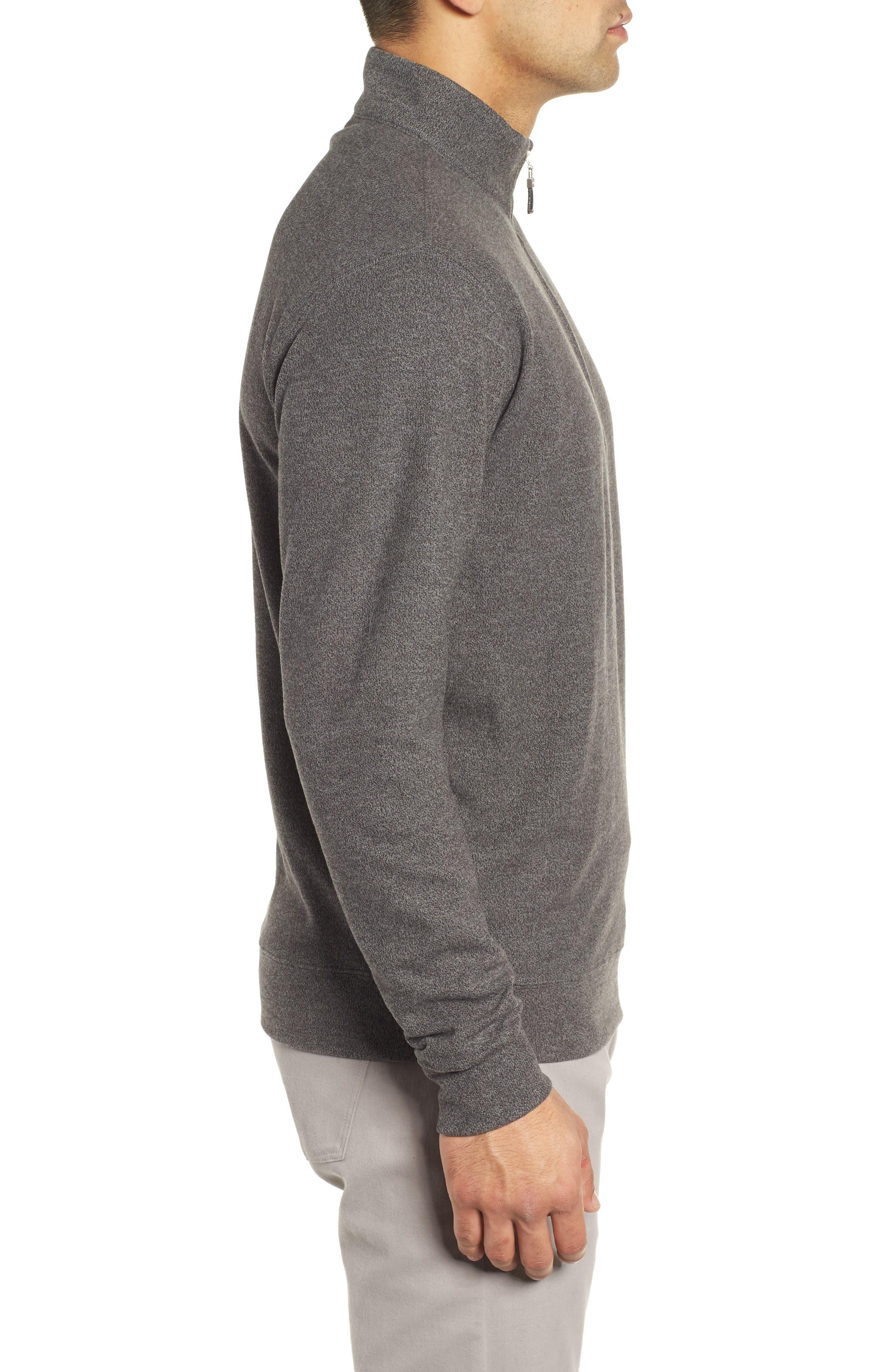 Mélange Fleece Quarter Zip Pullover,                             Alternate thumbnail 3, color,                             SMOKE