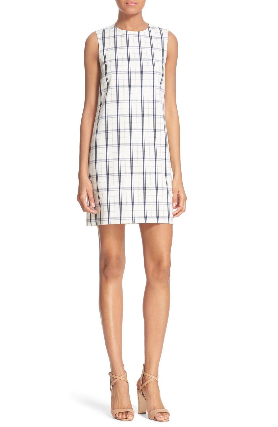 THEORY 'Adraya' Check Stretch Wool Shift Dress, Main, color, 900
