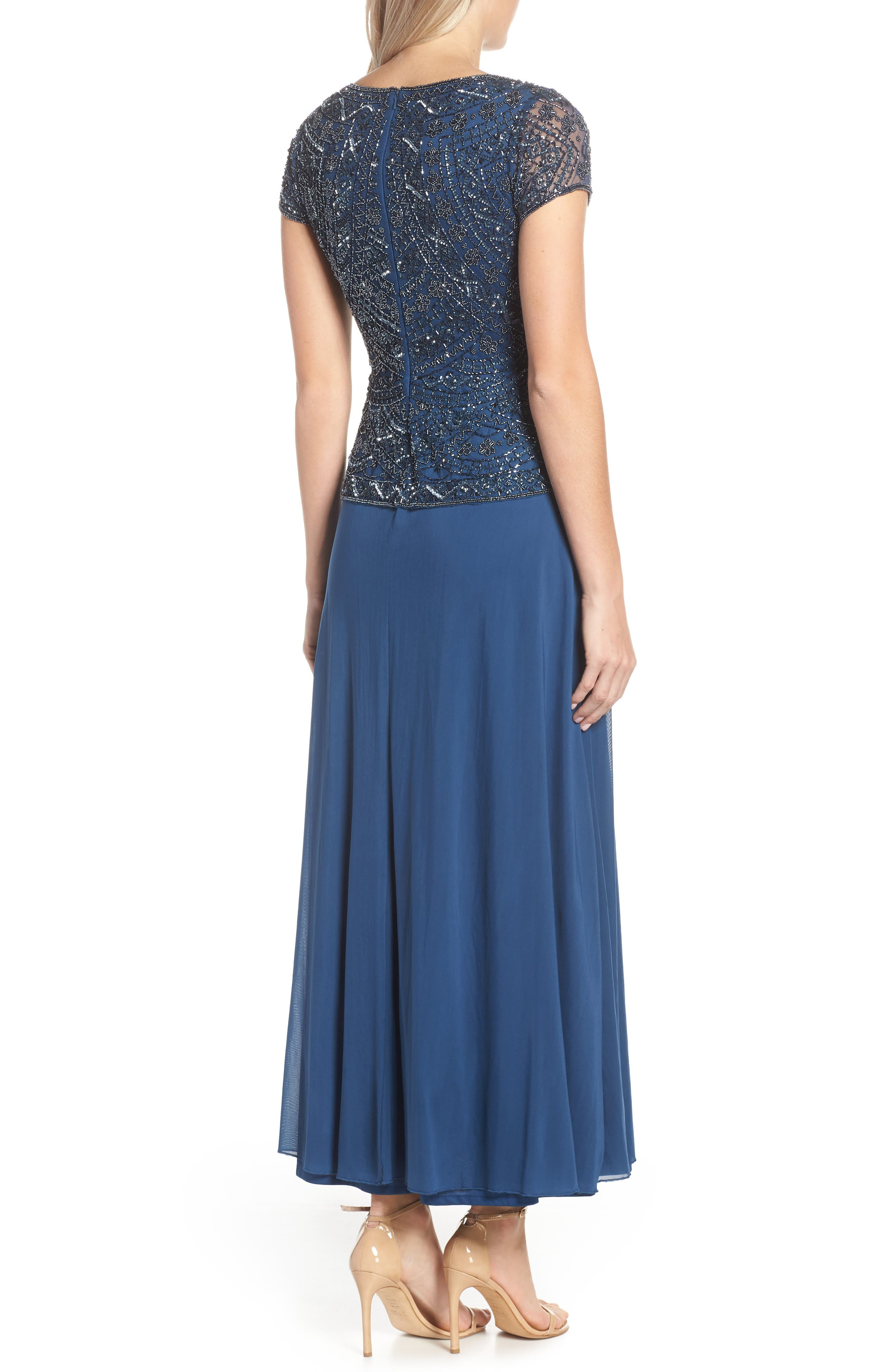 PISARRO NIGHTS,                             Beaded V-Neck Mock Two-Piece Gown,                             Alternate thumbnail 2, color,                             PETROL