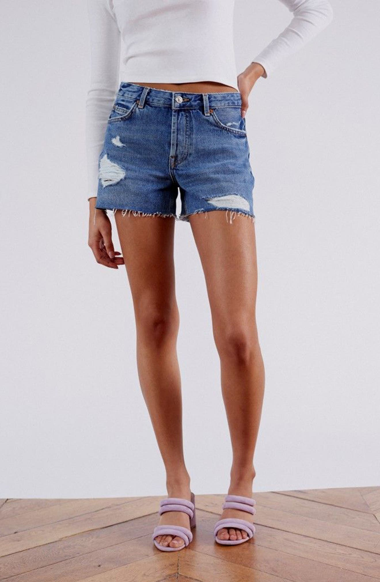 Ashley Ripped Boyfriend Shorts,                             Alternate thumbnail 8, color,                             MID DENIM