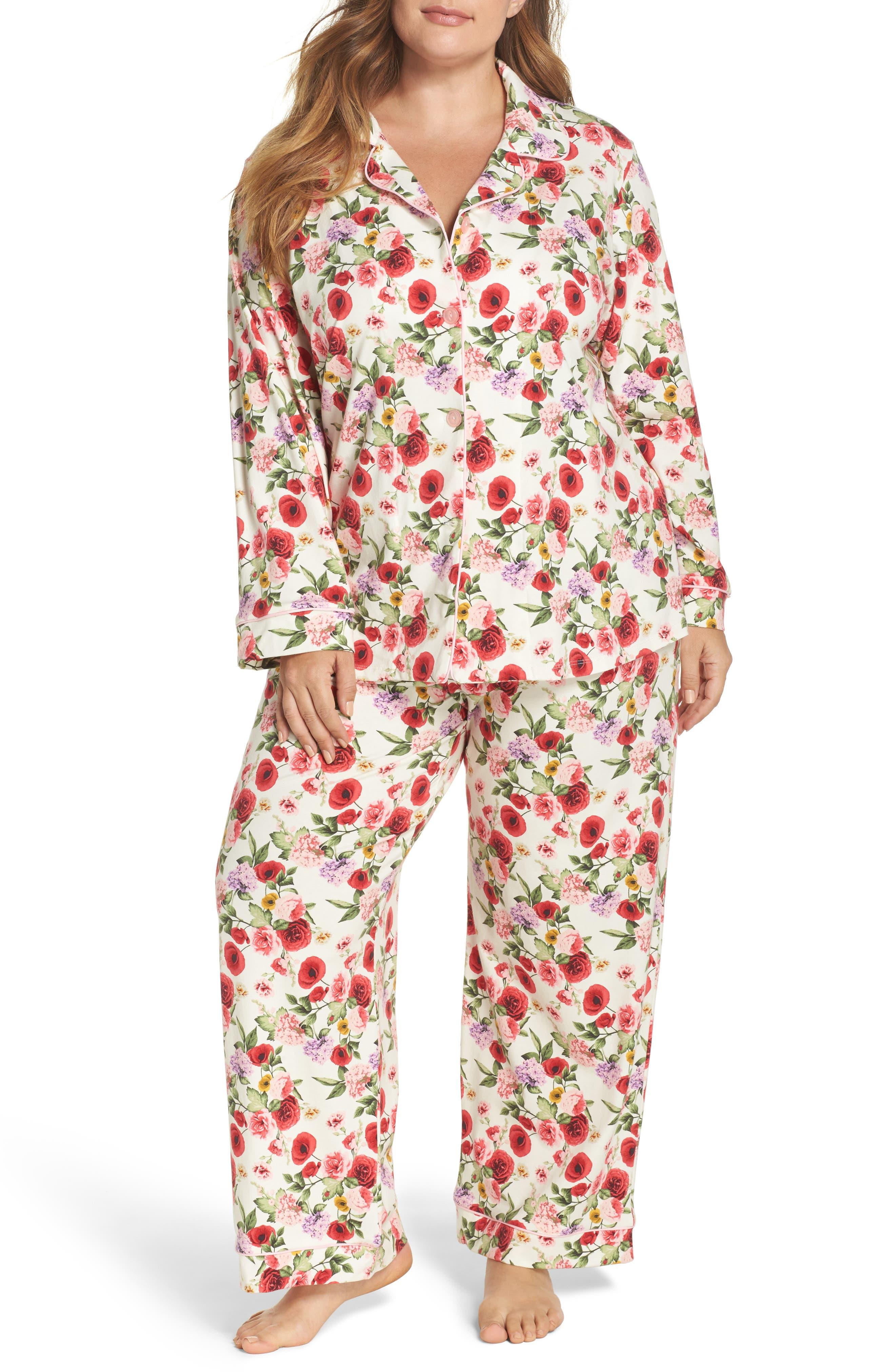 Flower Print Pajamas,                             Main thumbnail 1, color,