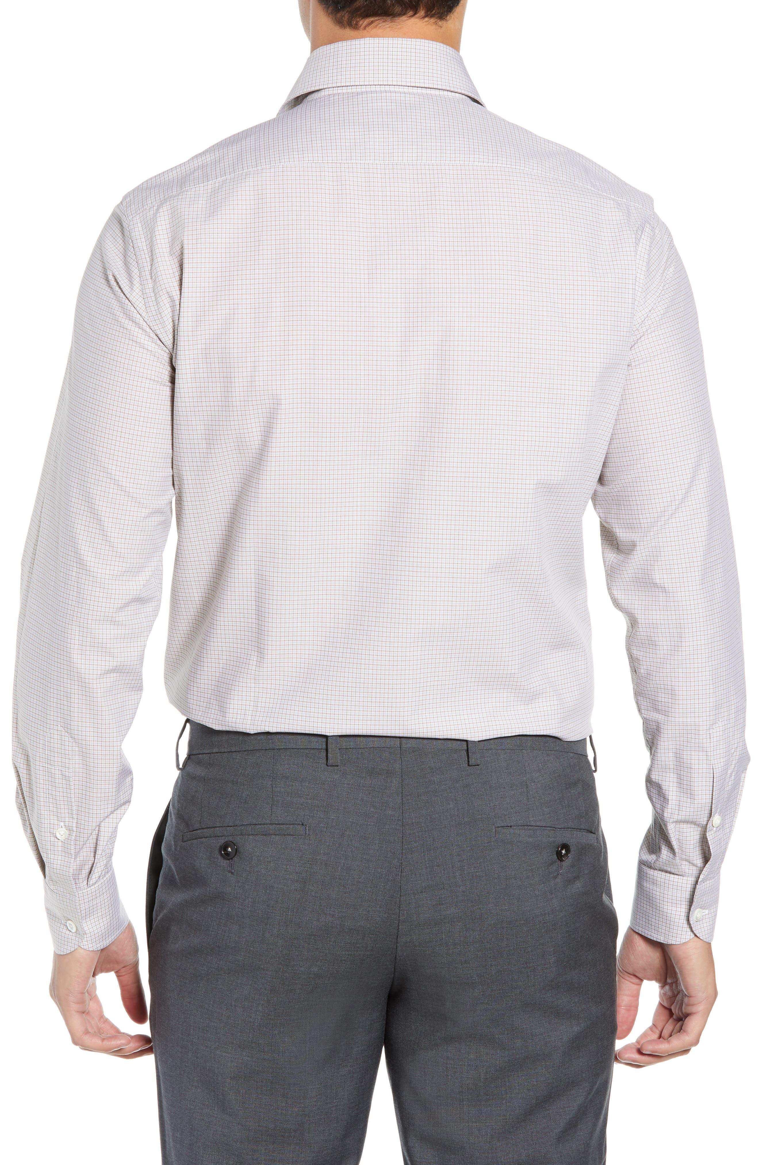 Slim Fit Check Dress Shirt,                             Alternate thumbnail 3, color,                             TAN