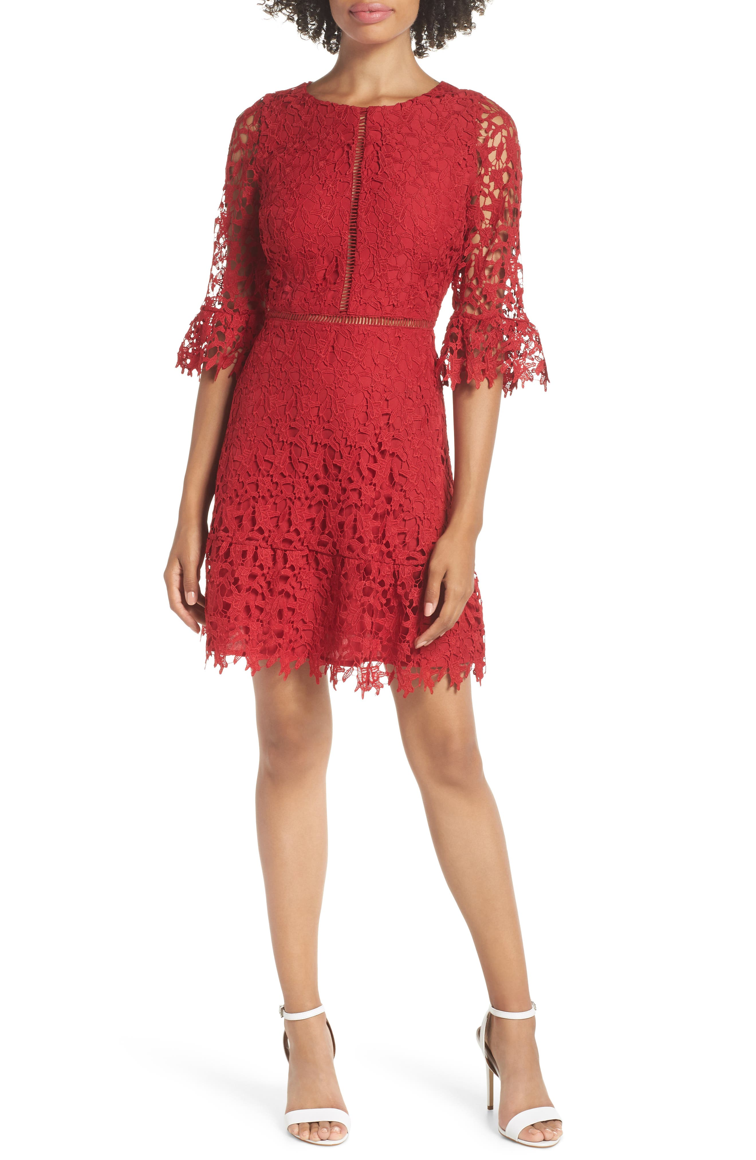 In the Moment Lace Dress, Main, color, SCARLET RED