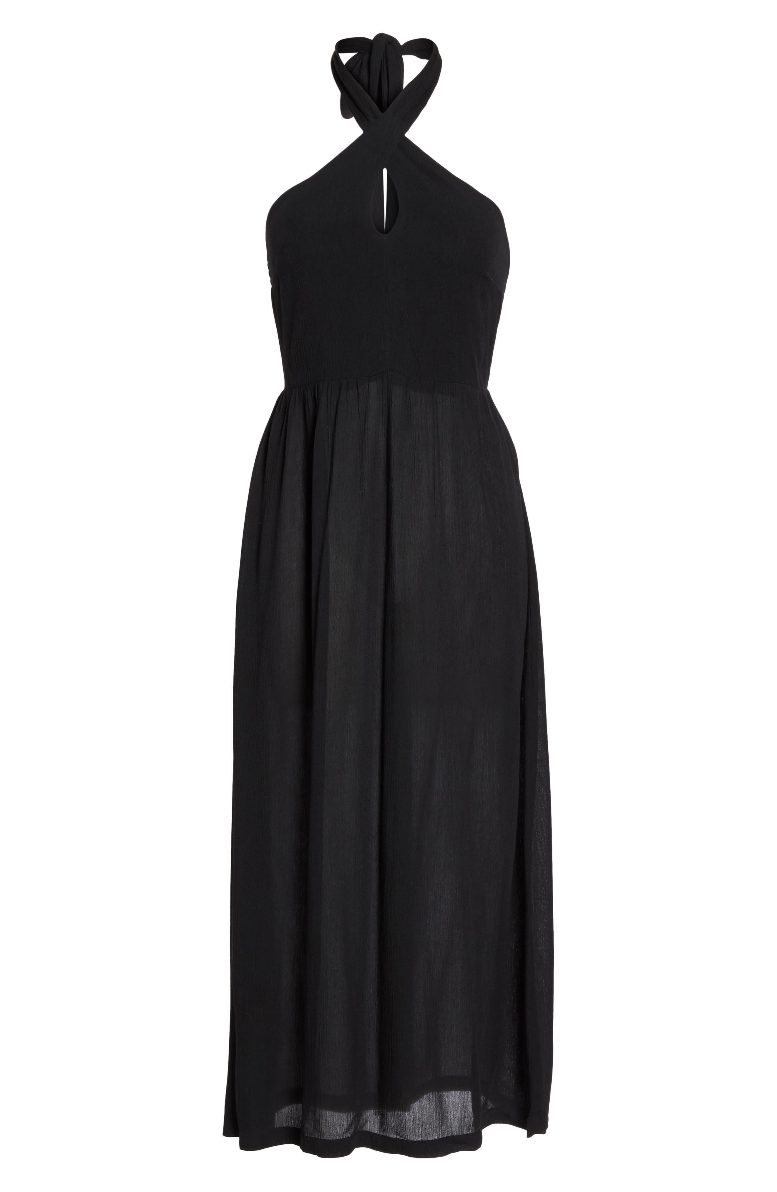 Midi Tie Back Cover-Up Dress,                             Alternate thumbnail 6, color,                             001