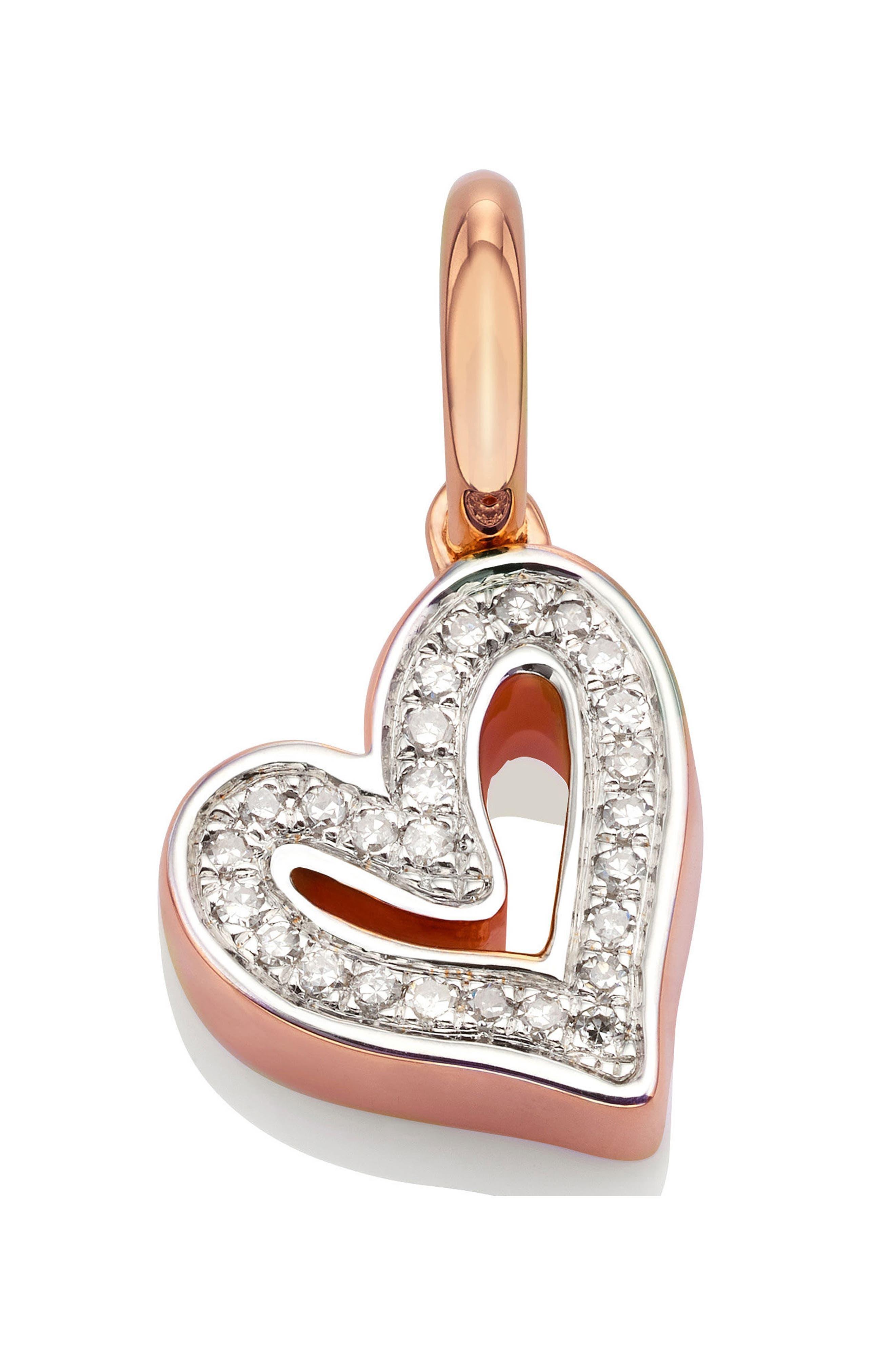 Alphabet Heart Diamond Pendant Charm,                         Main,                         color, ROSE GOLD