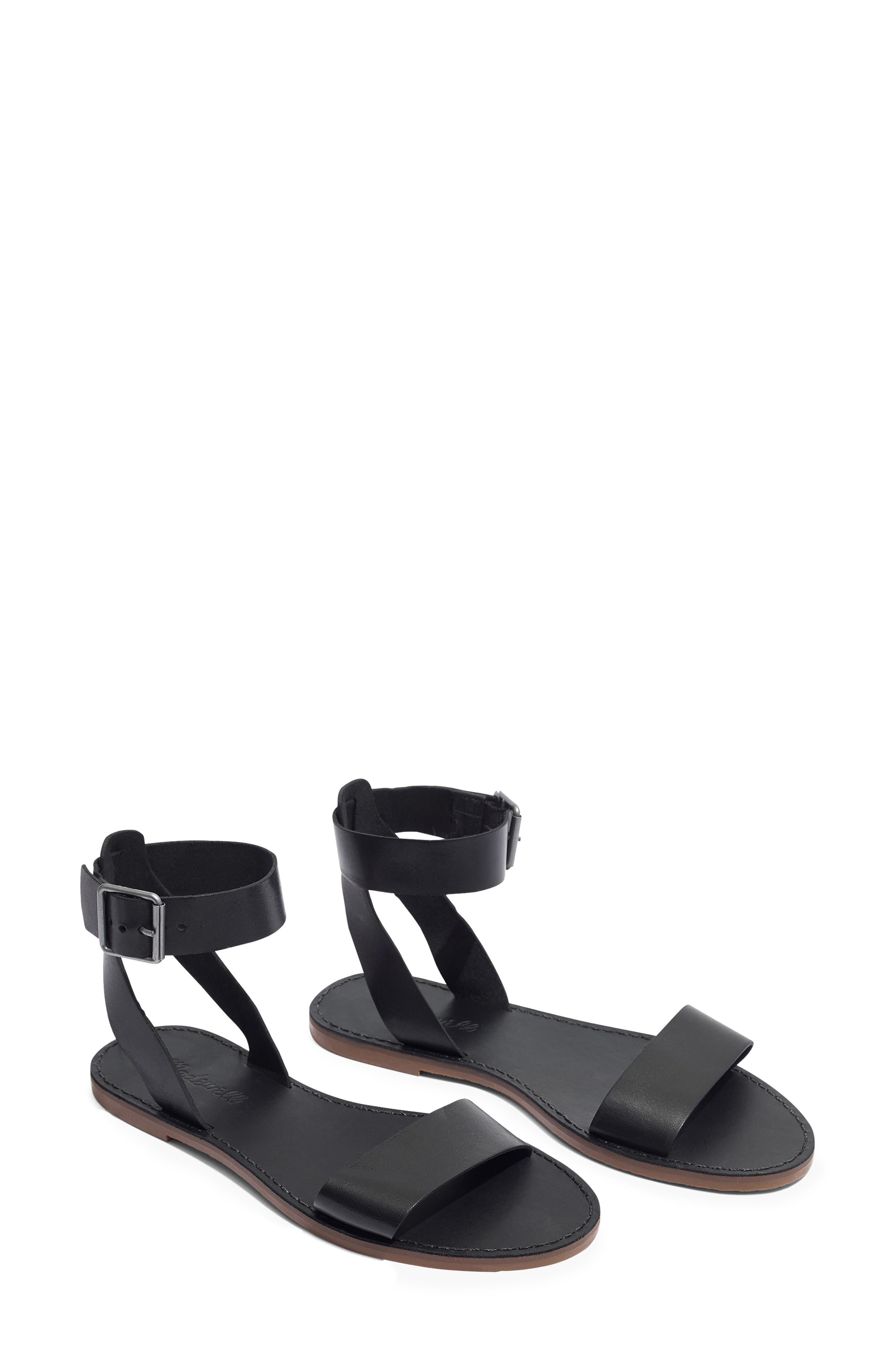 MADEWELL,                             The Boardwalk Ankle Strap Sandal,                             Alternate thumbnail 8, color,                             TRUE BLACK LEATHER