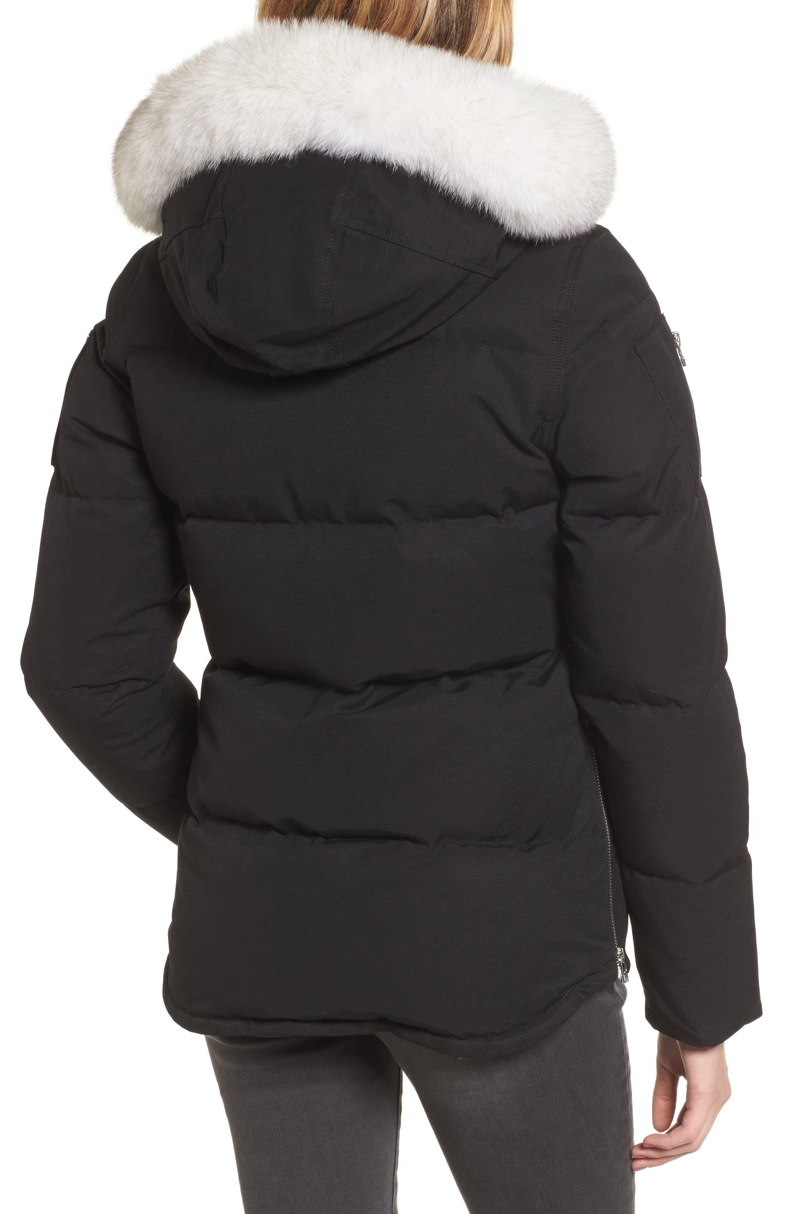Genuine Fox Fur Trim Hooded Down Coat,                             Alternate thumbnail 2, color,                             009