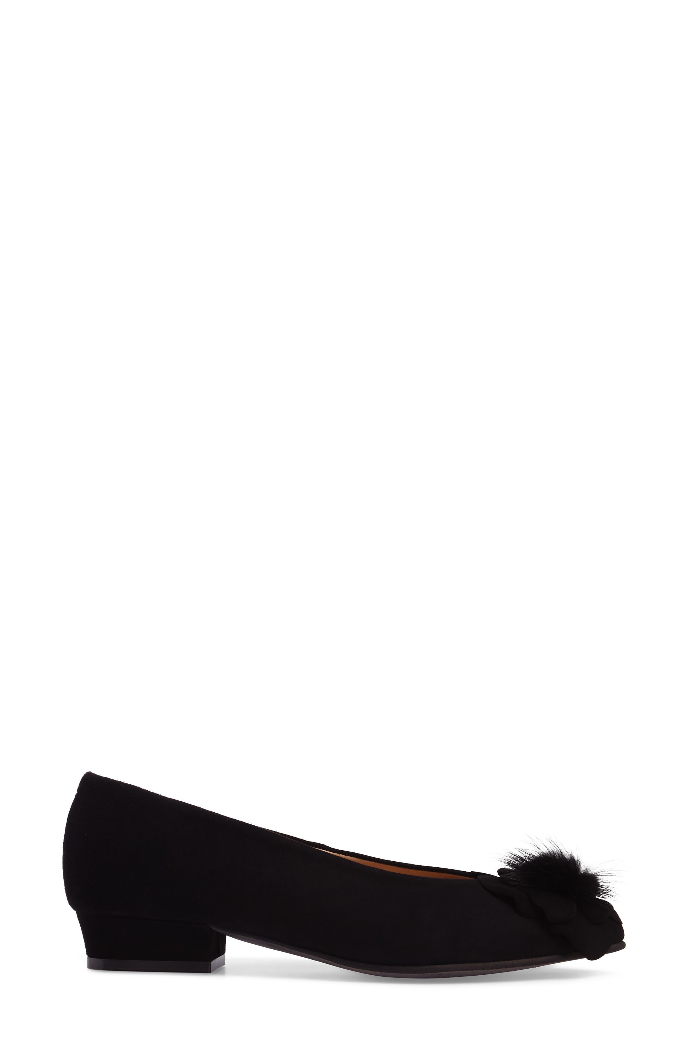 Genuine Rabbit Fur Pom Flat,                             Alternate thumbnail 3, color,                             BLACK SUEDE