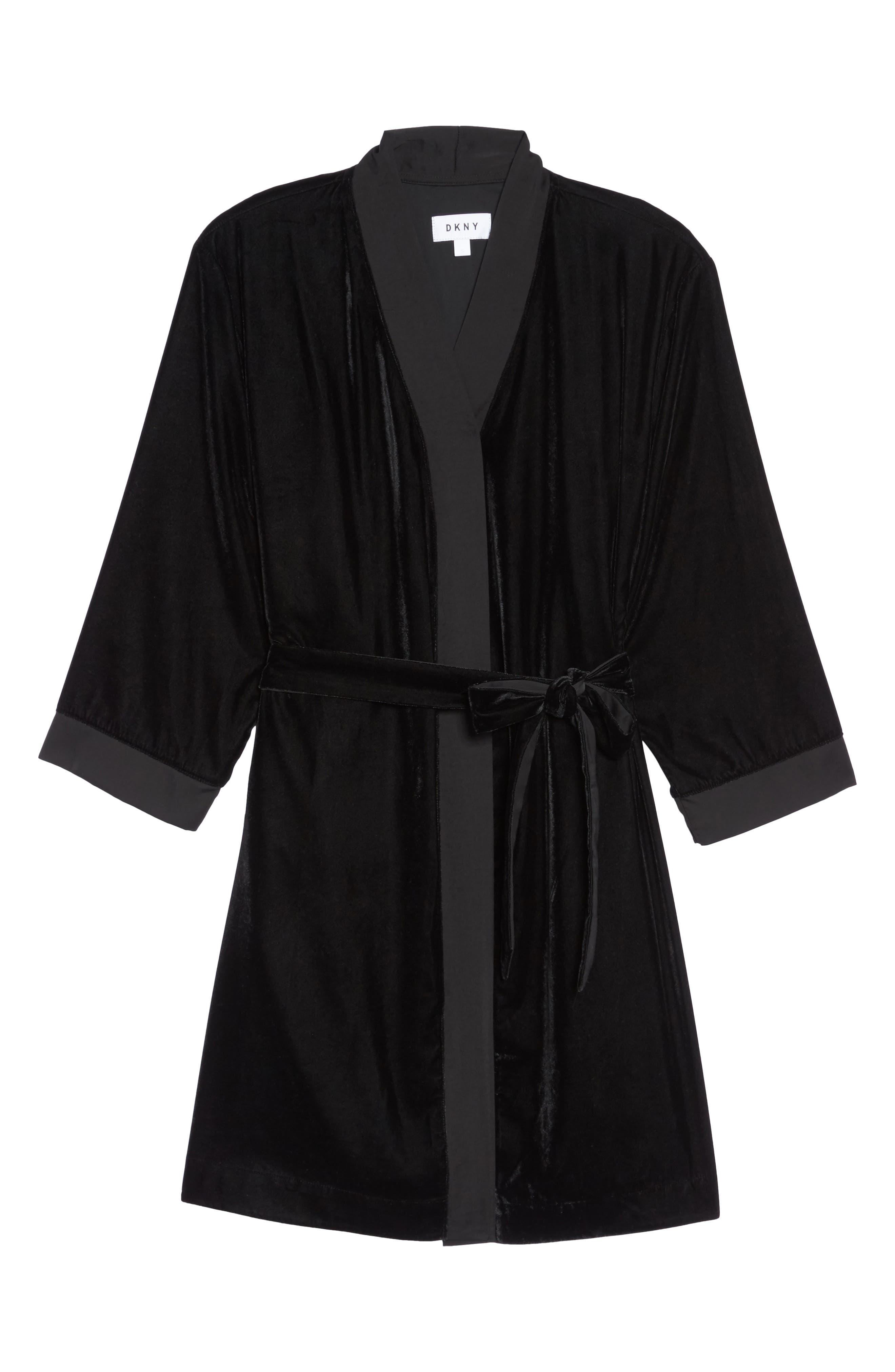 Velvet Short Robe,                             Alternate thumbnail 6, color,                             001