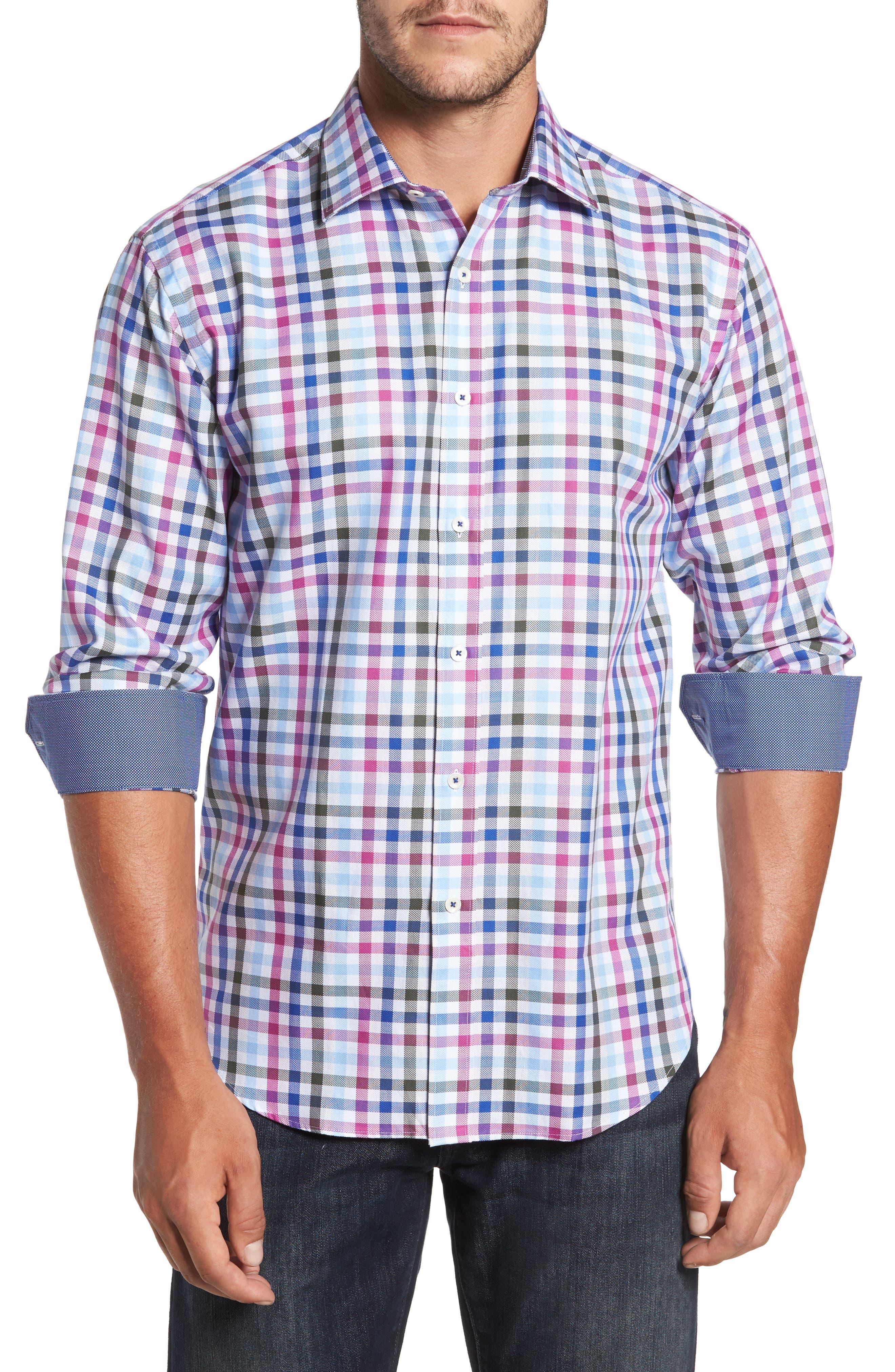 Shaped Fit Plaid Sport Shirt,                         Main,                         color, 537