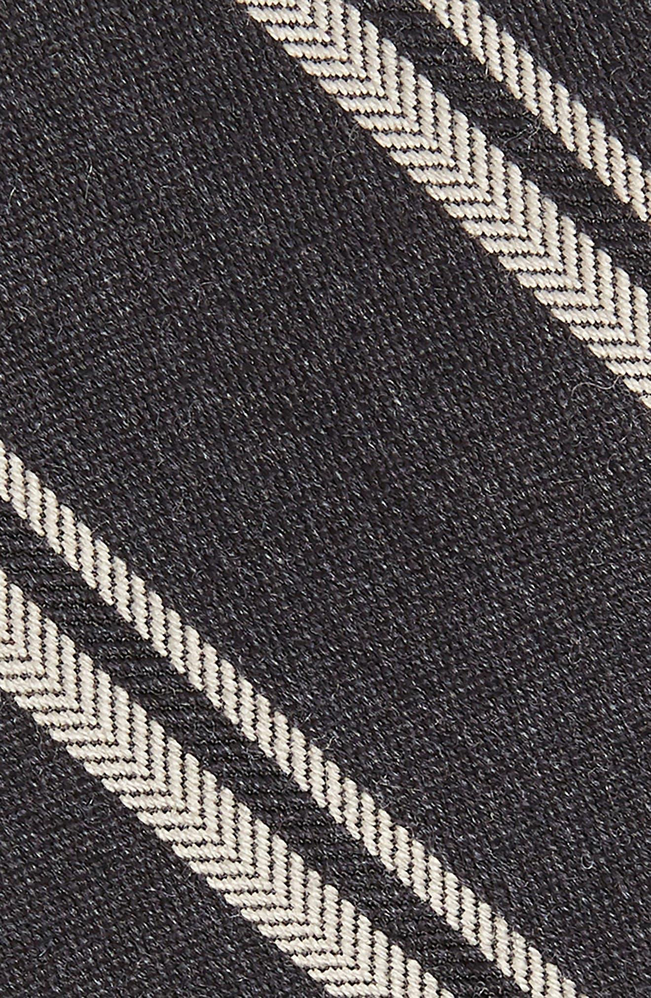 Dornach Stripe Wool & Silk Tie,                             Alternate thumbnail 2, color,                             BLACK PEPPER STRIPE