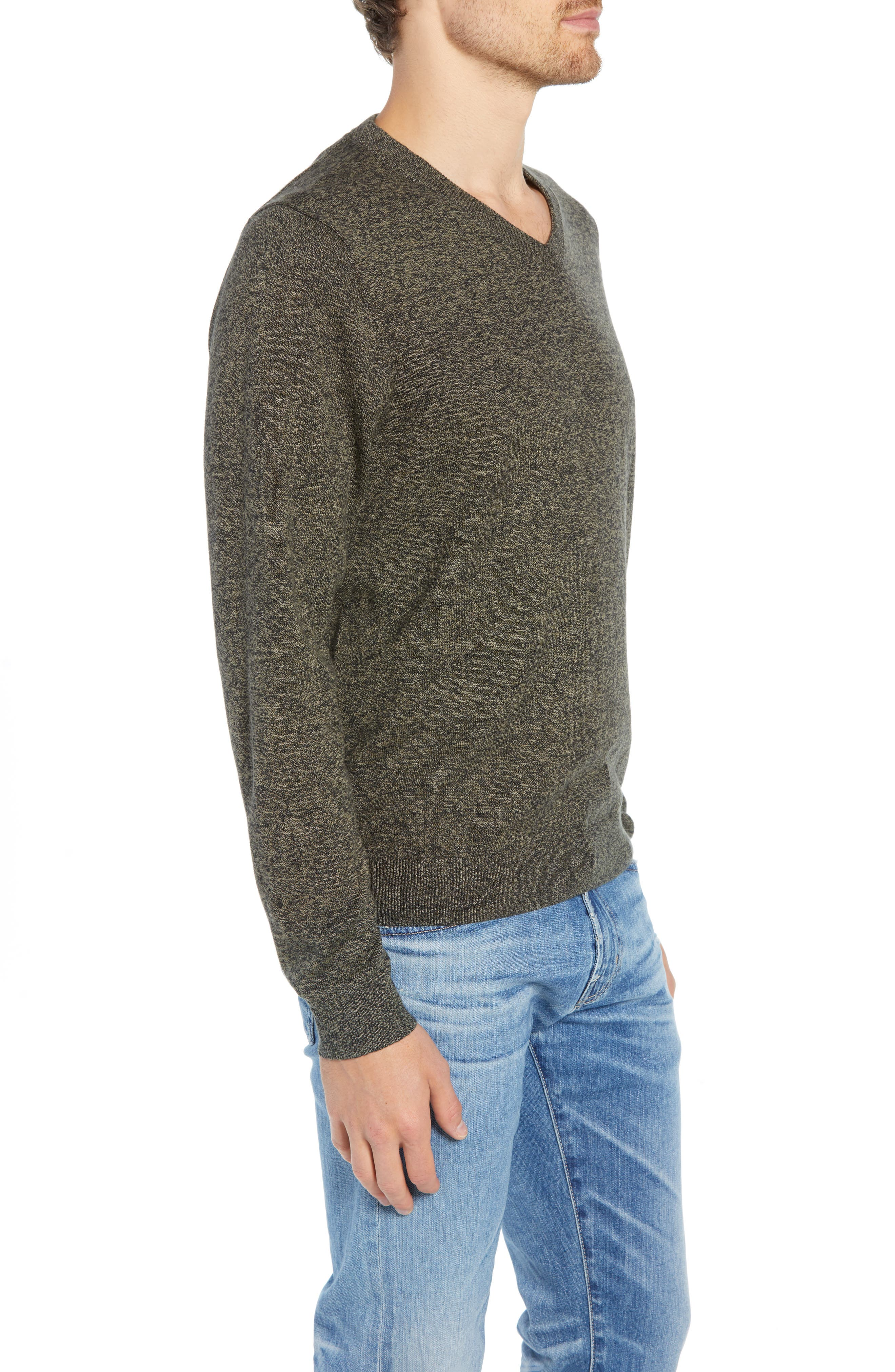 Cotton & Cashmere V-Neck Sweater,                             Alternate thumbnail 3, color,                             GREEN FOREST MARL