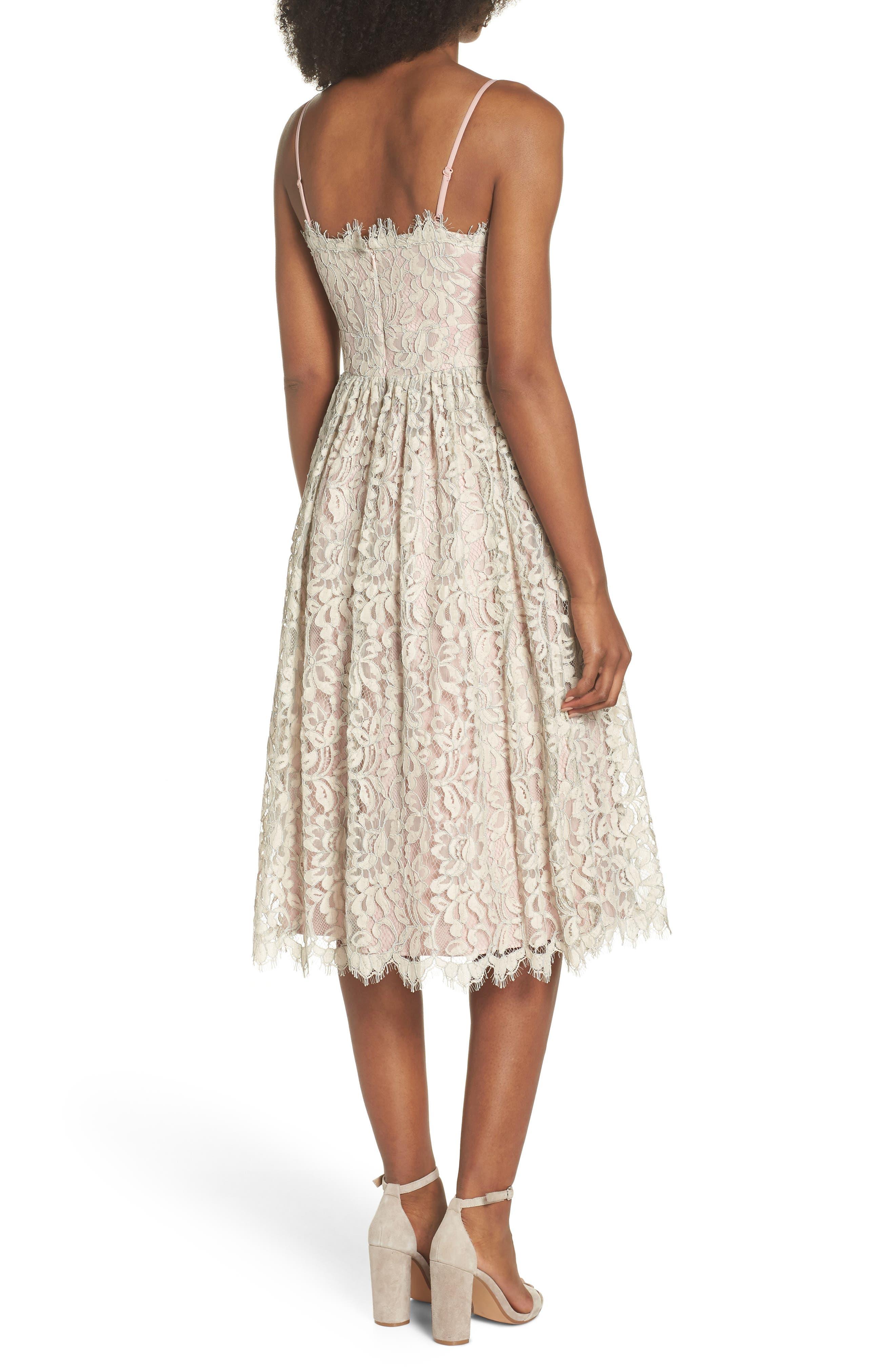Lace Fit & Flare Dress,                             Alternate thumbnail 2, color,                             900