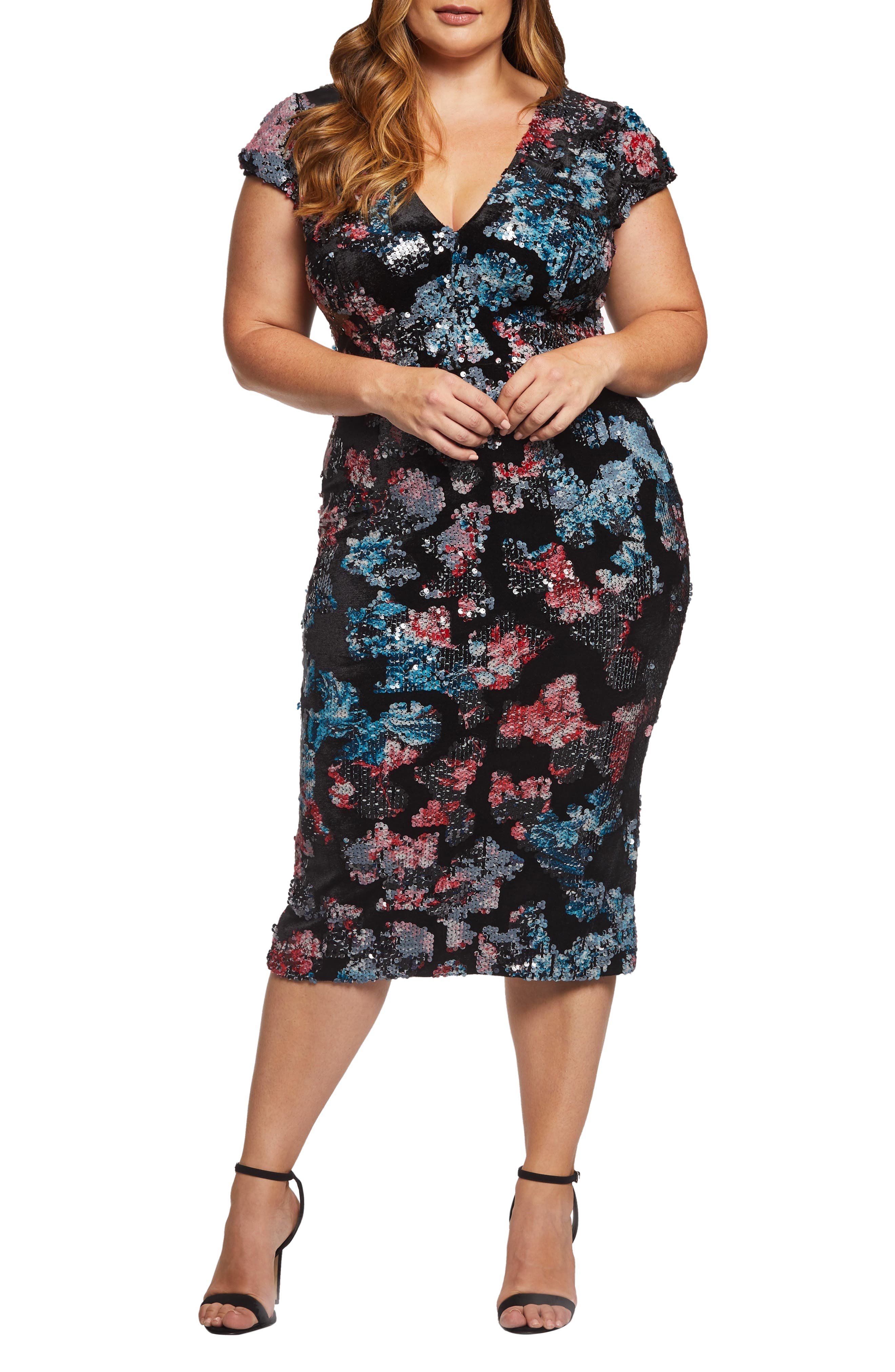Allison Sequin & Velvet Midi Dress,                         Main,                         color, BLACK MULTI