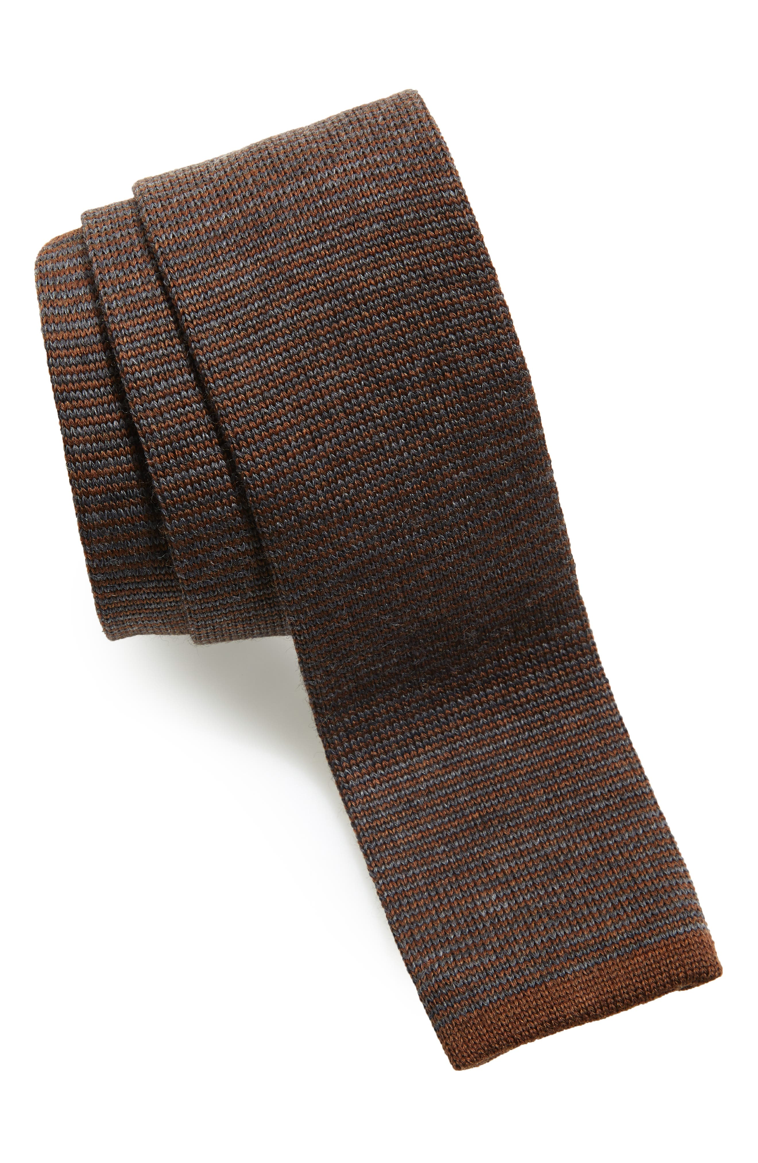 Stripe Wool Skinny Tie,                         Main,                         color, ORCA GREY