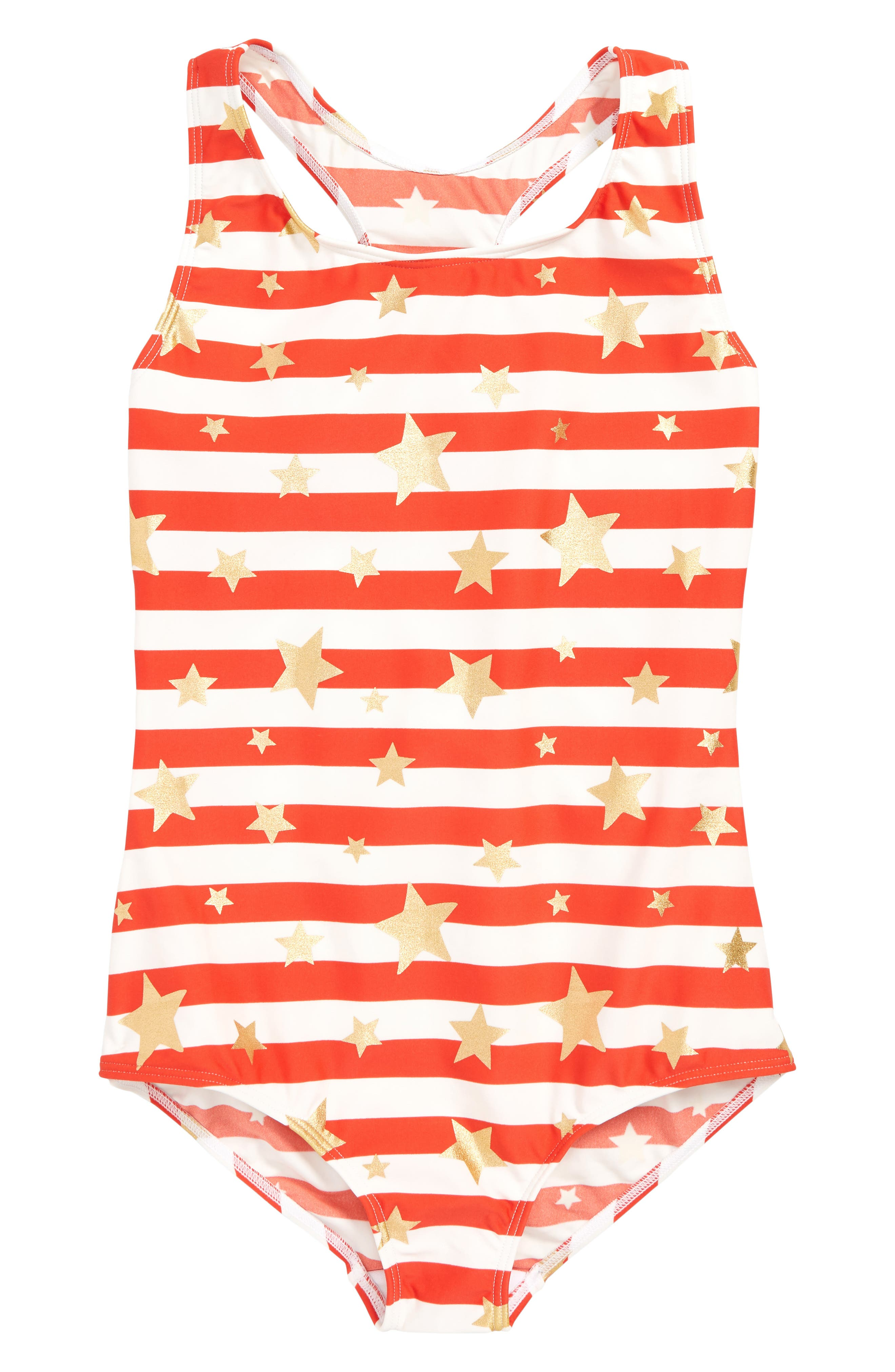 MINI BODEN Print One-Piece Swimsuit, Main, color, RED SUNSET GOLD HEART BRETON
