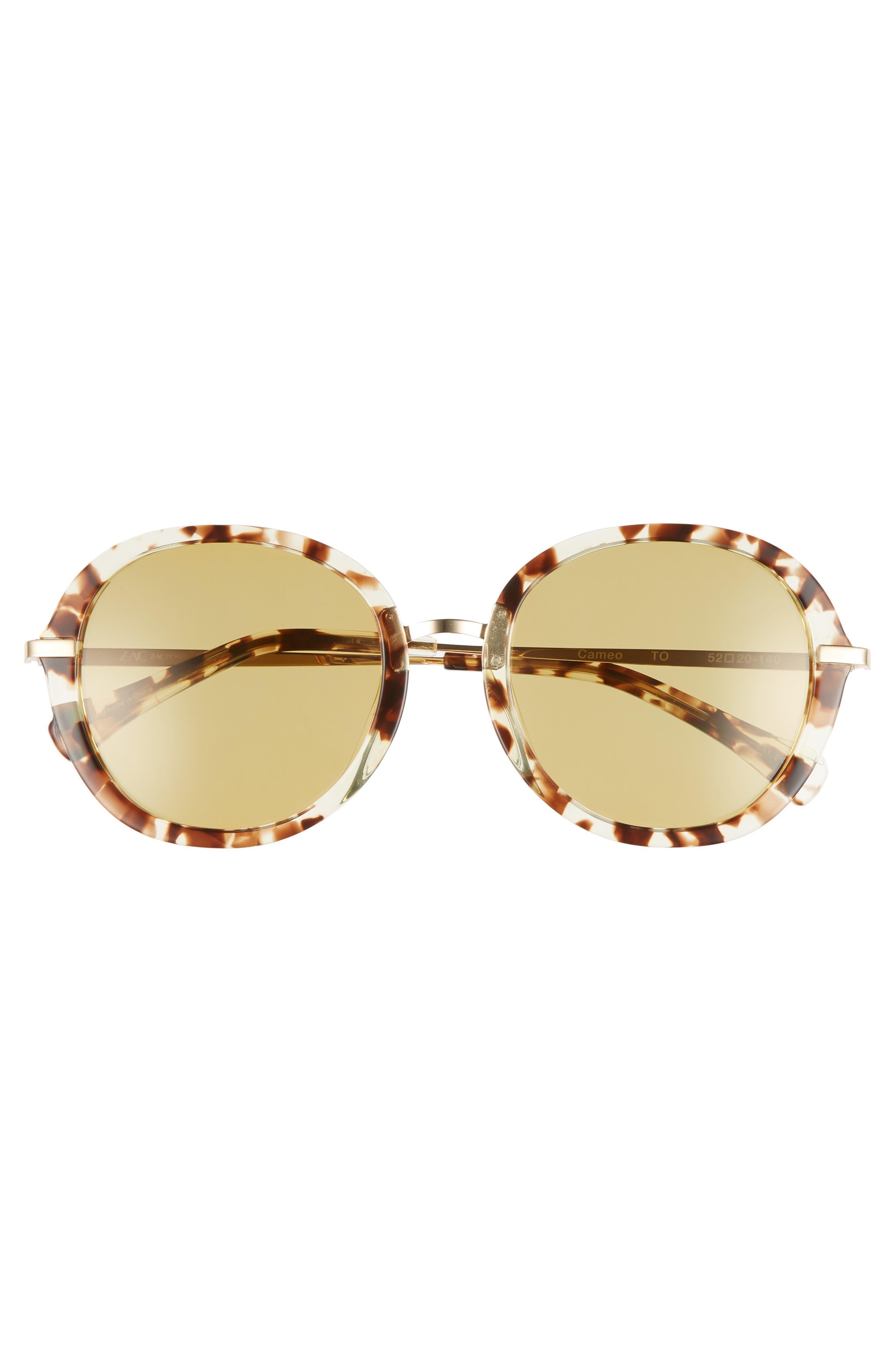 Cameo 52mm Round Sunglasses,                             Alternate thumbnail 3, color,                             TORTOISE POLAR/ GOLD