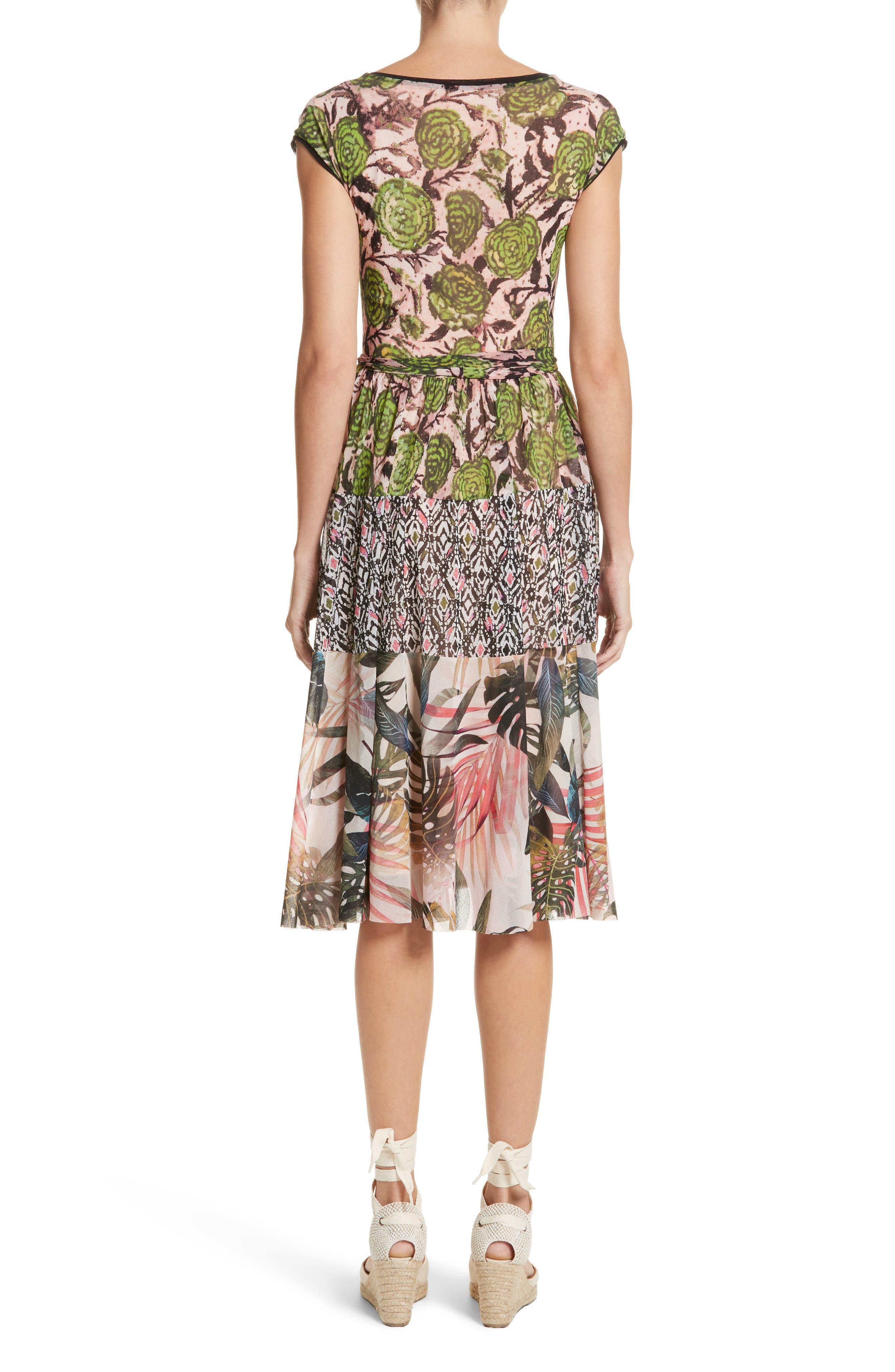 Patchwork Print Tulle Dress,                             Alternate thumbnail 2, color,                             300