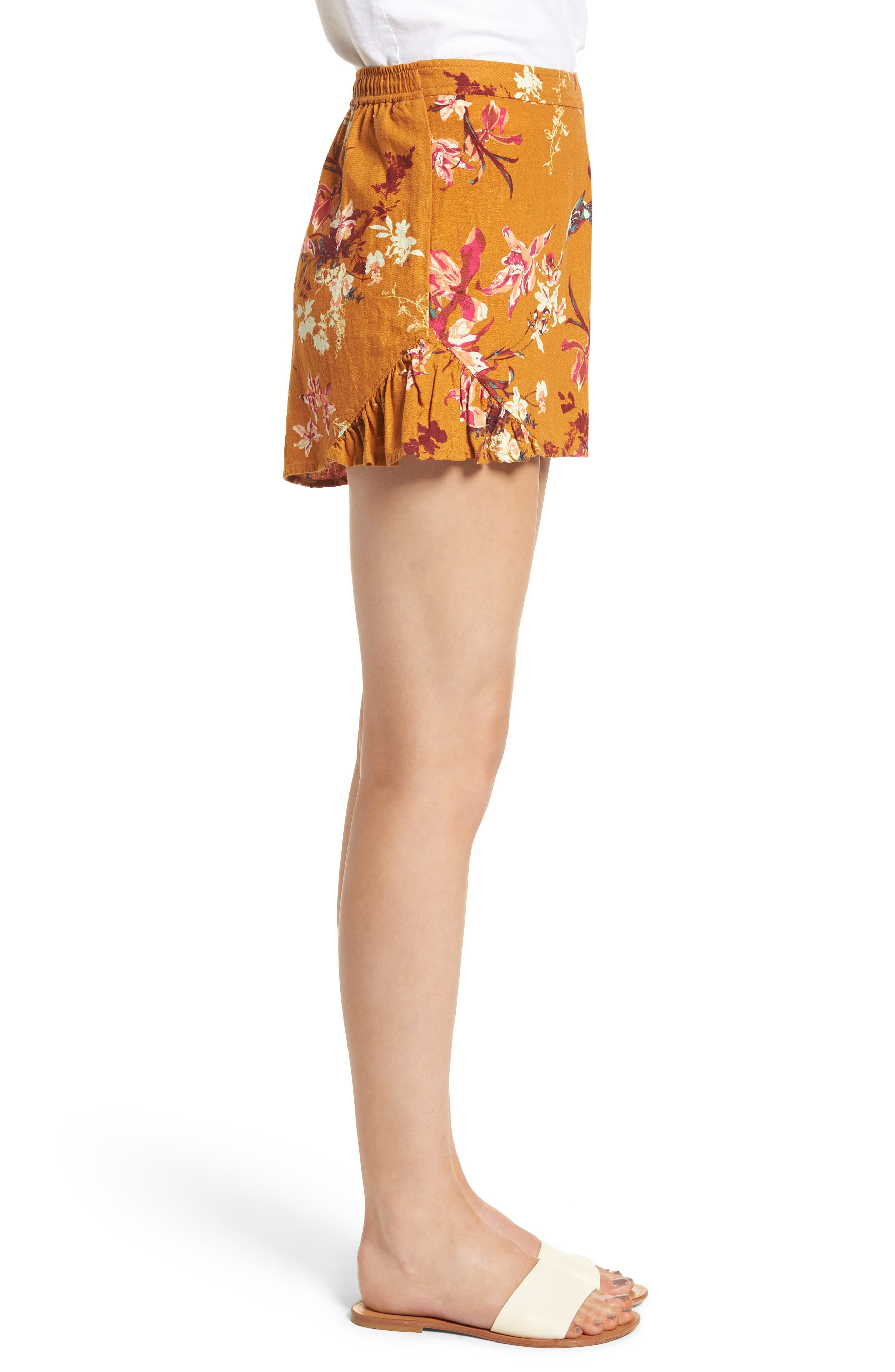 Print Linen Blend Shorts,                             Alternate thumbnail 3, color,                             720