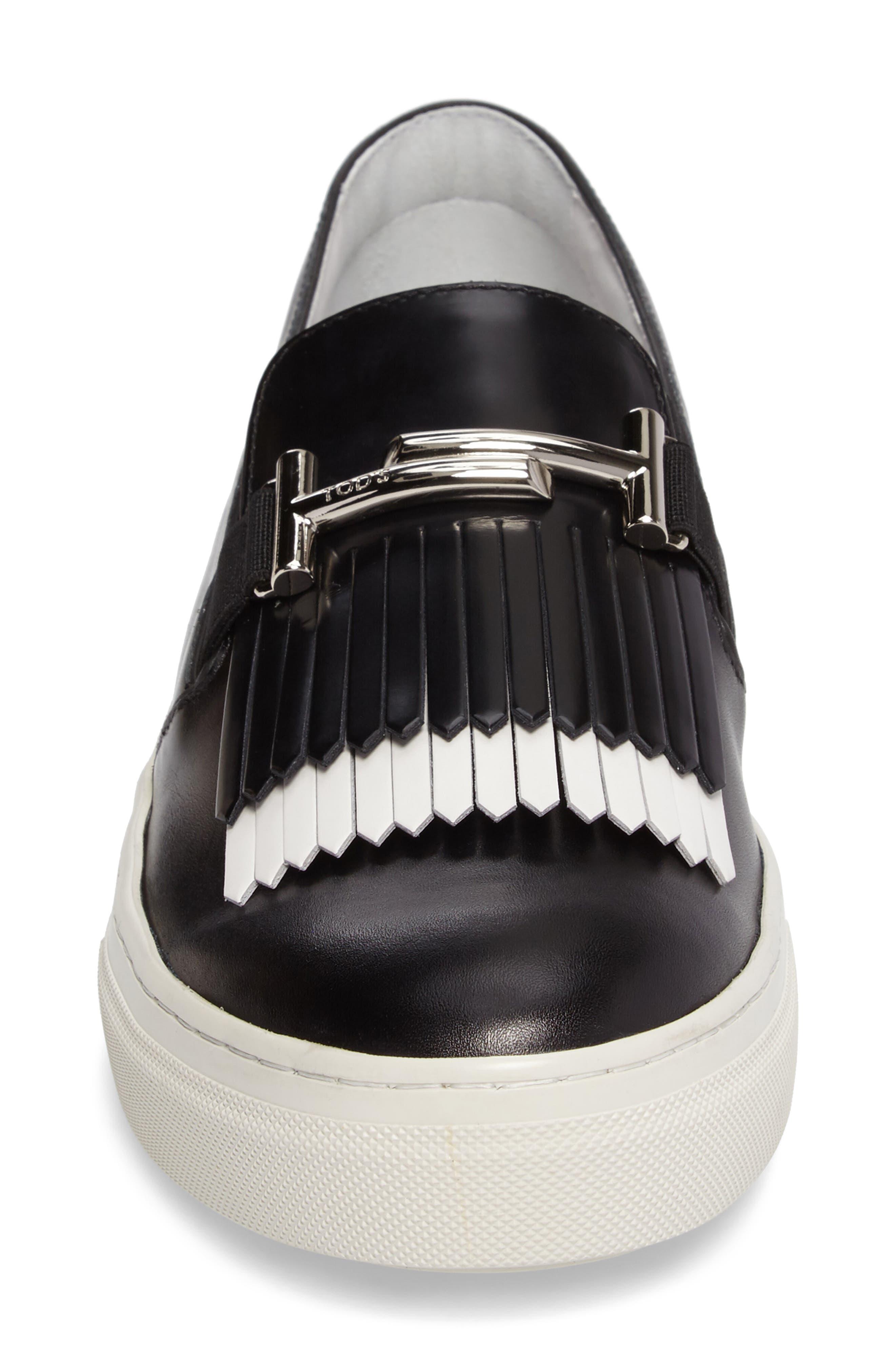 Double-T Kiltie Fringe Slip-On Sneaker,                             Alternate thumbnail 4, color,                             001