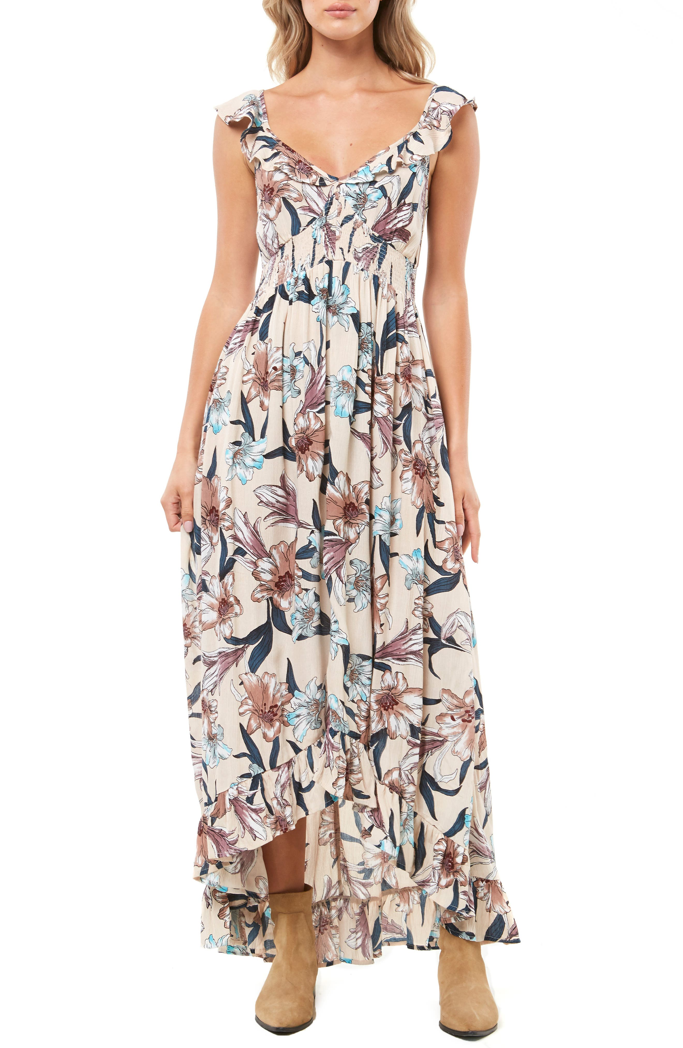 Cleo Ruffle Maxi Dress,                         Main,                         color, MULTI COLORED