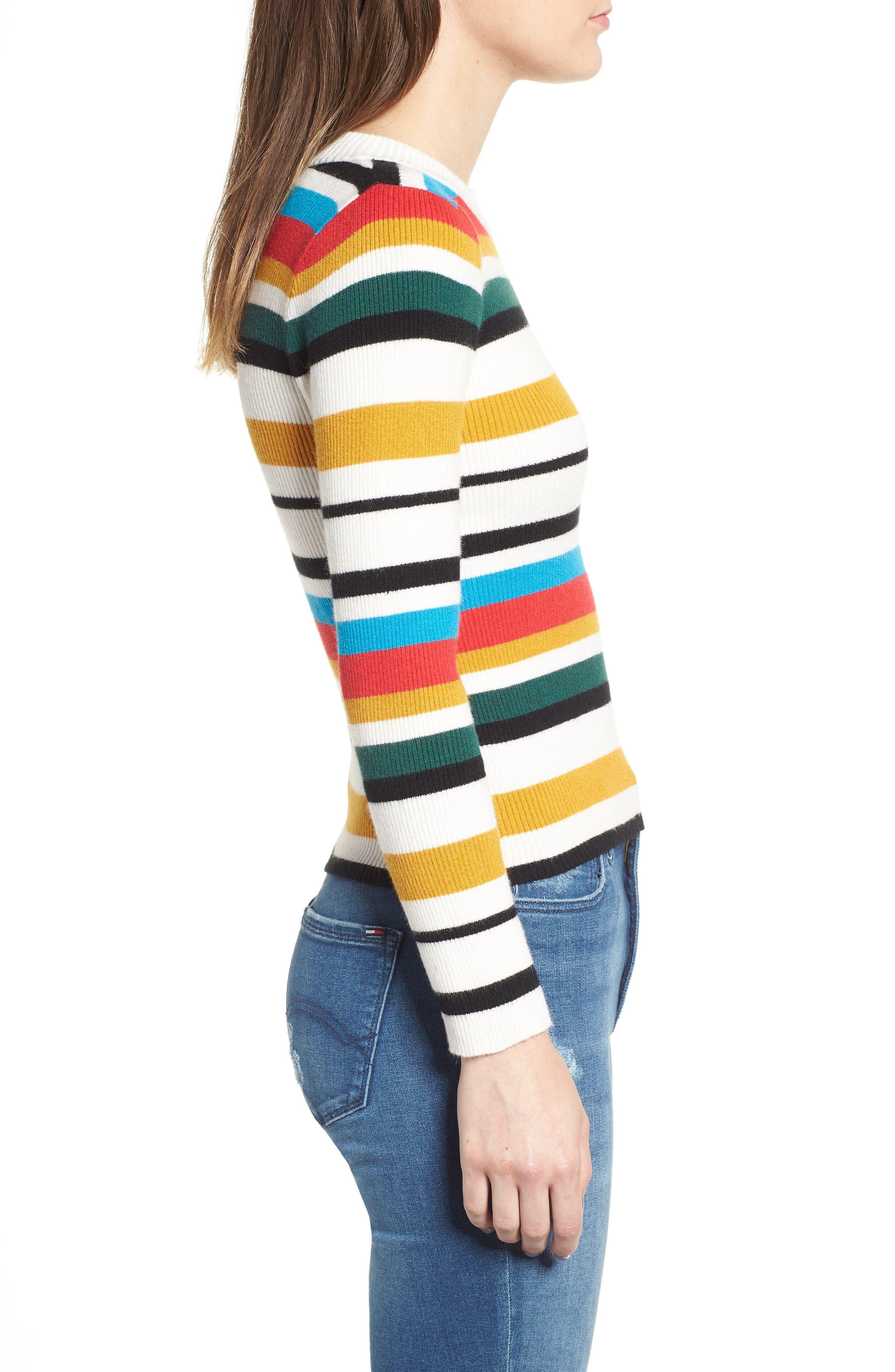 Stripe Rib Knit Sweater,                             Alternate thumbnail 3, color,                             100