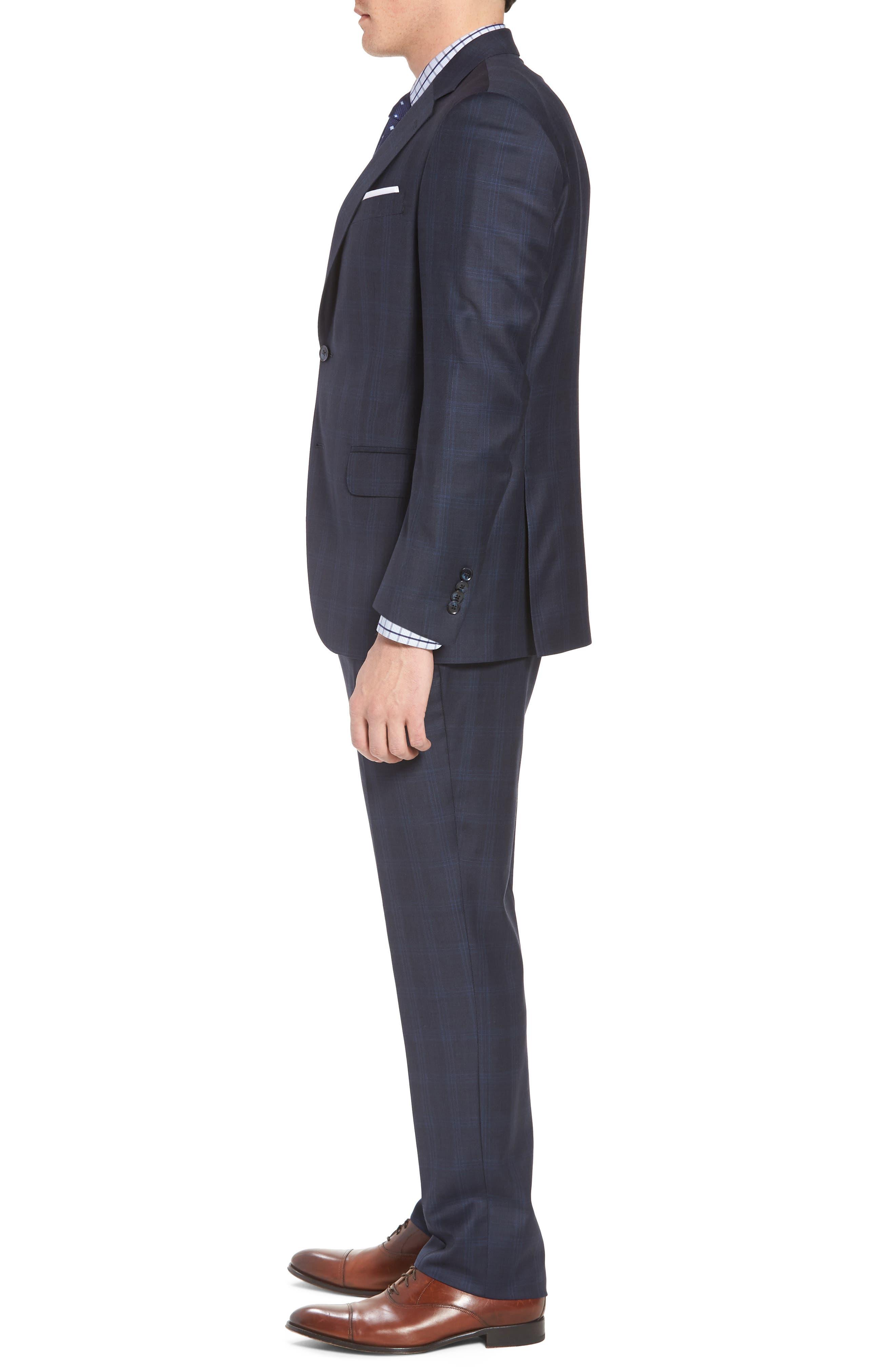 Classic Fit Plaid Wool Suit,                             Alternate thumbnail 3, color,                             400