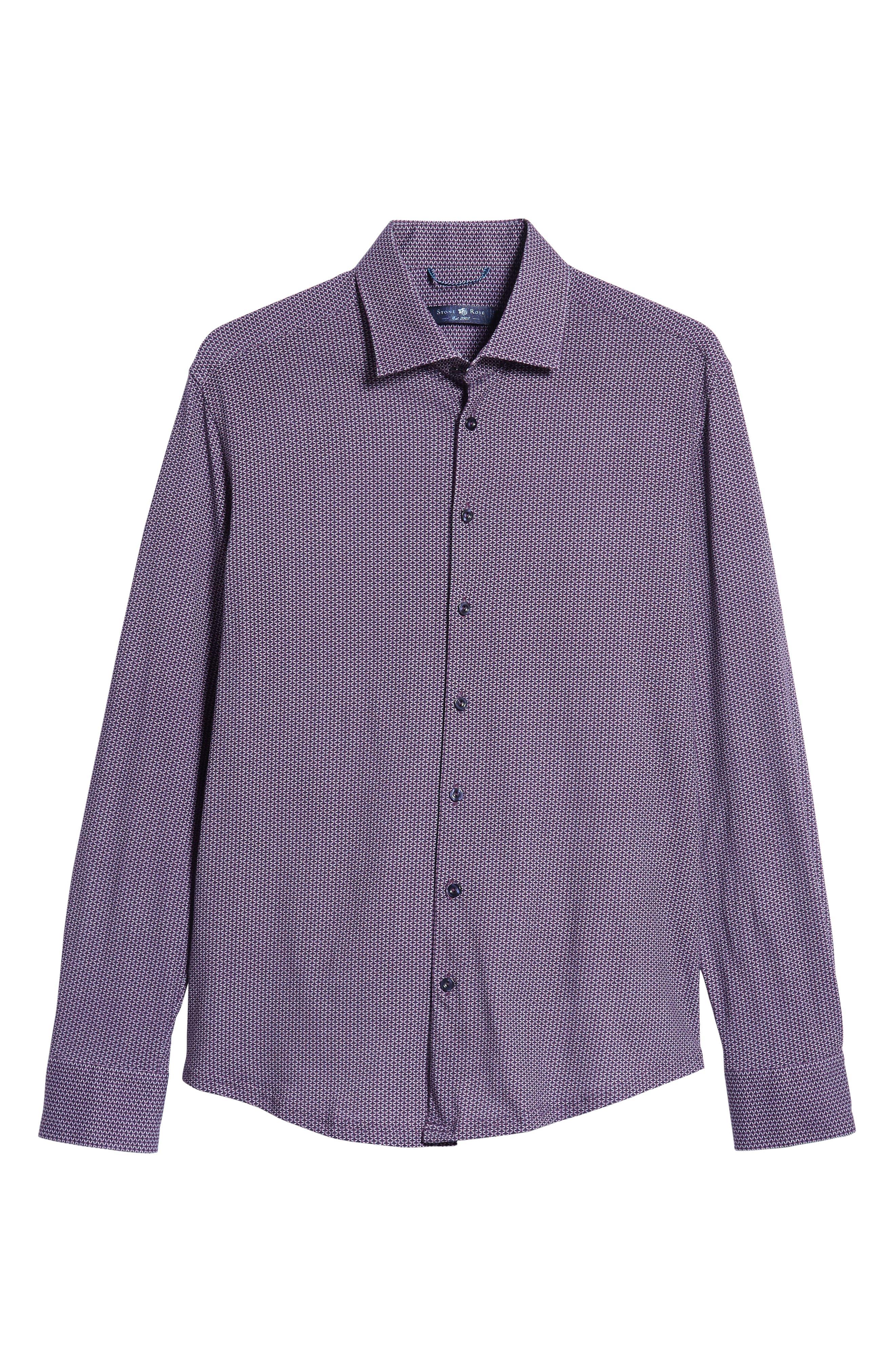 Trim Fit Knit Sport Shirt,                             Alternate thumbnail 5, color,                             PURPLE