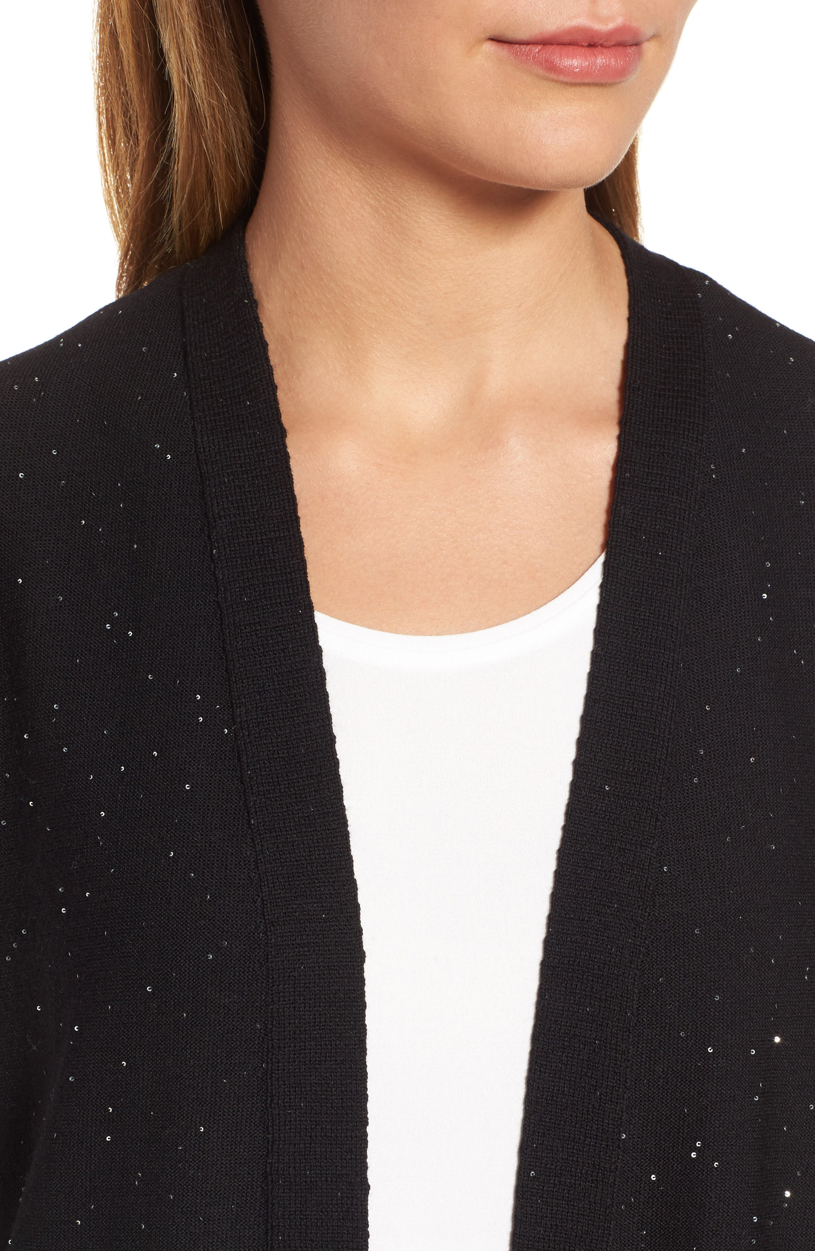 Sequin Merino Wool Cardigan,                             Alternate thumbnail 4, color,                             001