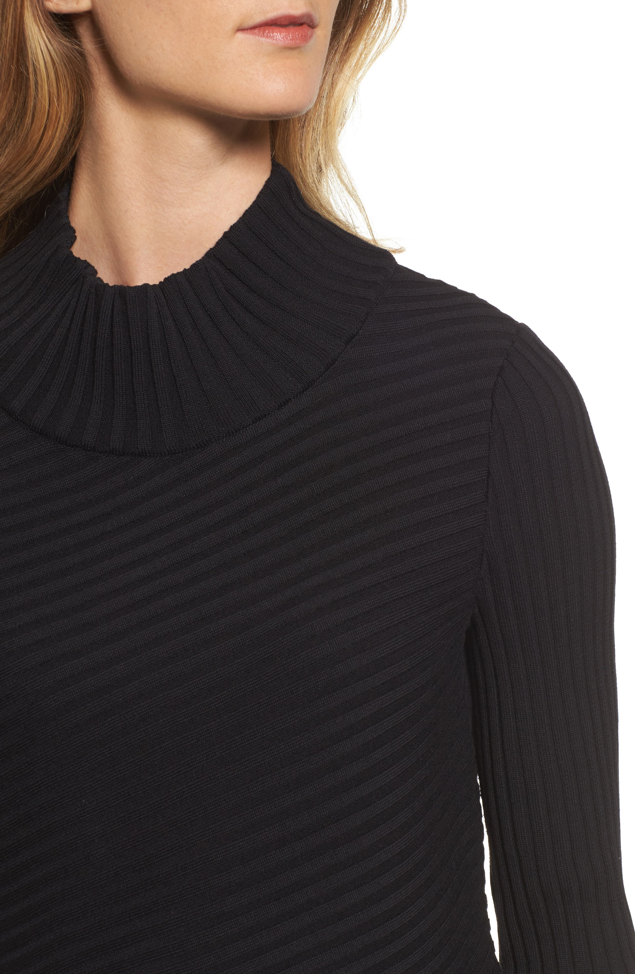 Ribbed Asymmetrical Sweater,                             Alternate thumbnail 4, color,                             001