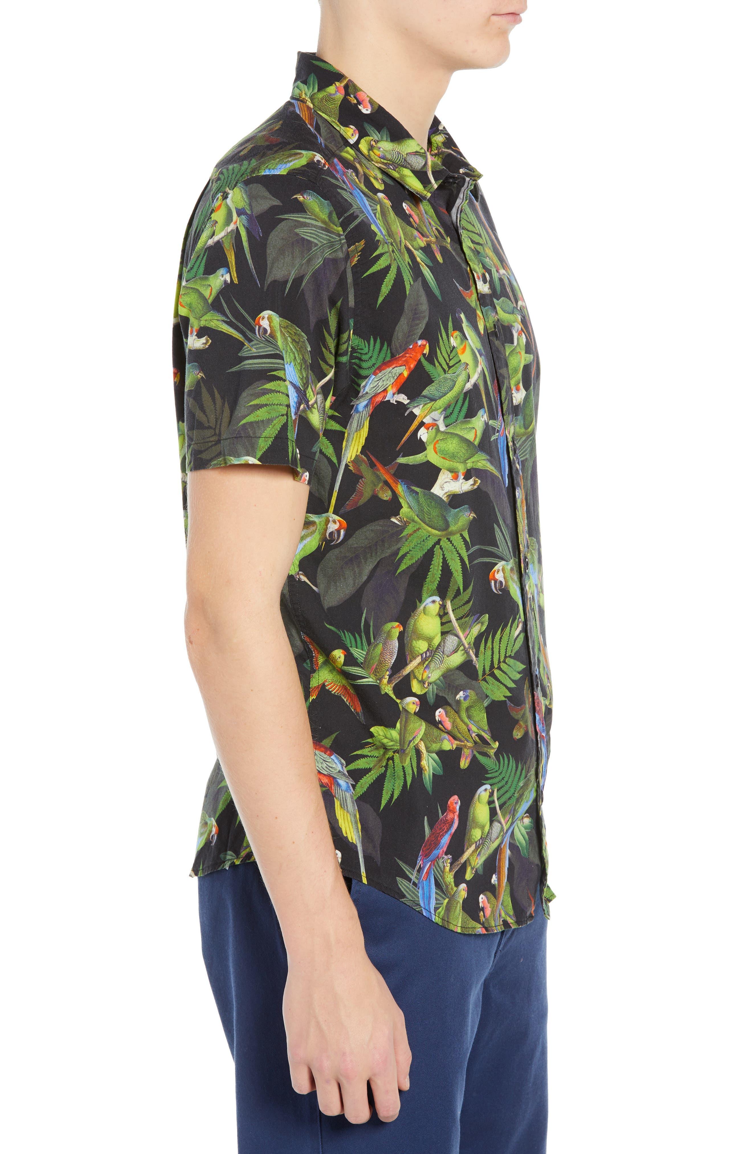 Squawker Woven Shirt,                             Alternate thumbnail 4, color,                             BLACK