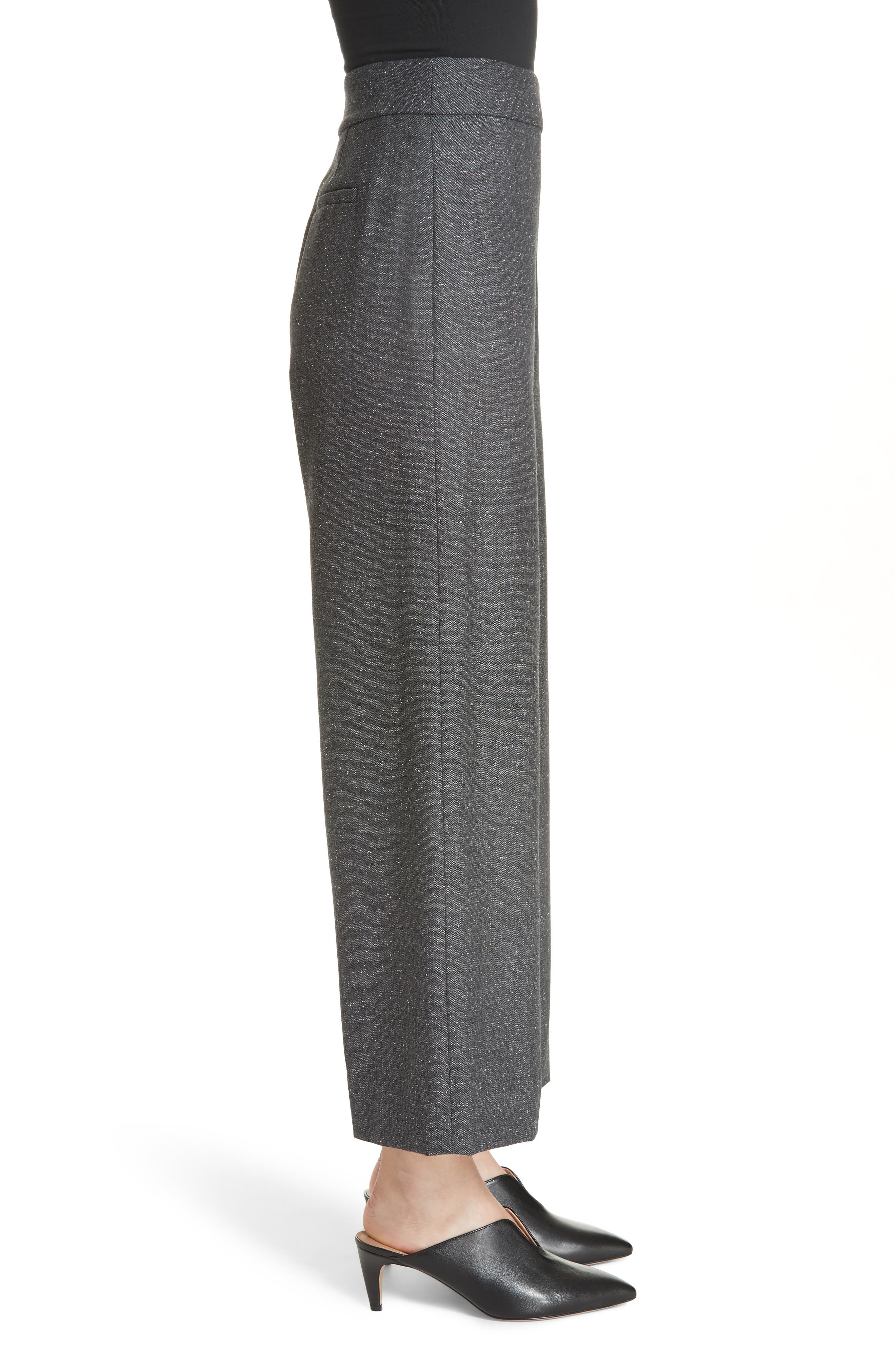 Wide Leg Crop Wool & Silk Blend Trousers,                             Alternate thumbnail 3, color,                             GREY