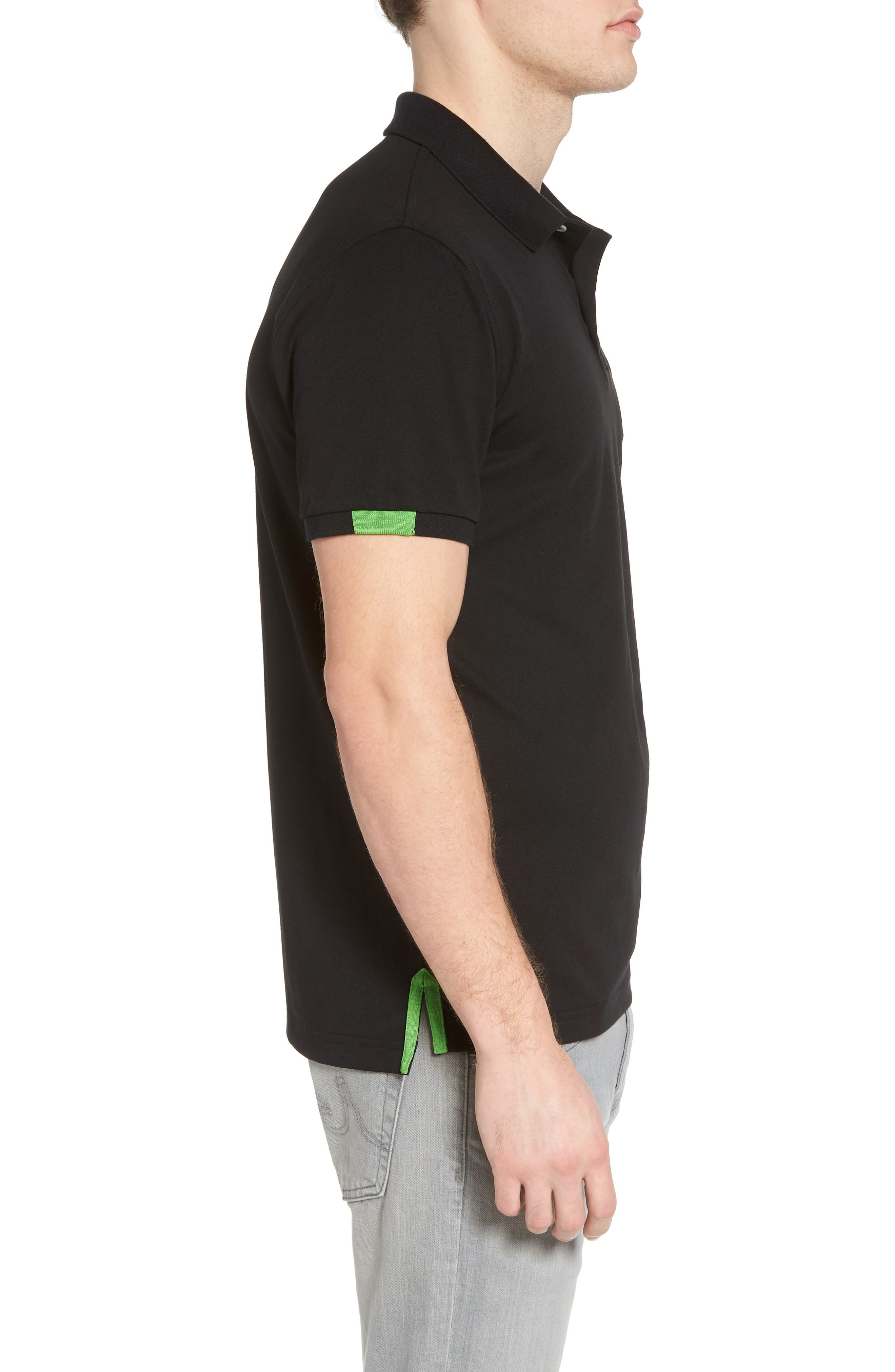 Neon Tipped Golf Polo,                             Alternate thumbnail 3, color,                             001