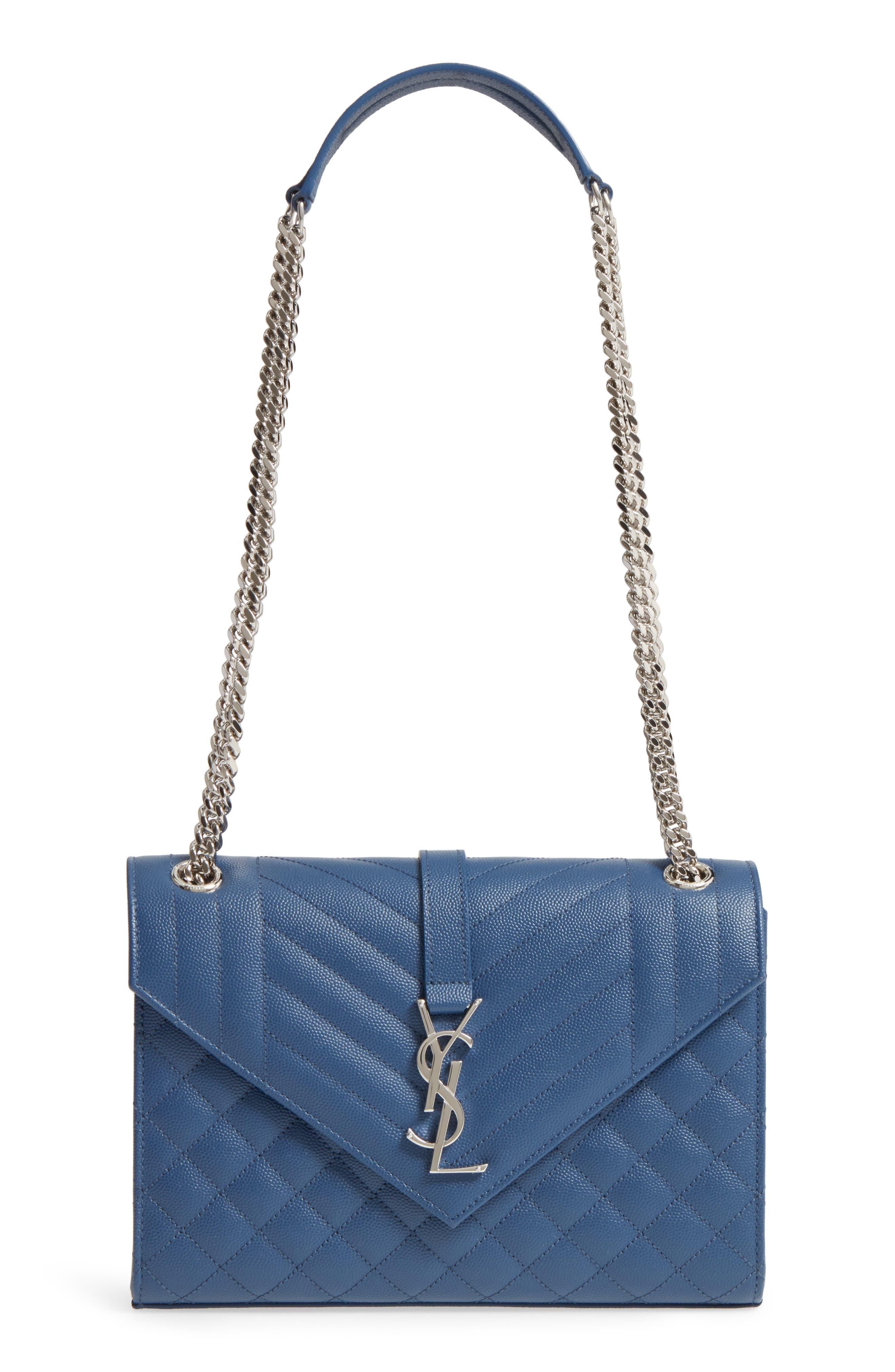 Medium Cassandra Calfskin Shoulder Bag,                         Main,                         color, DEEP MARINE