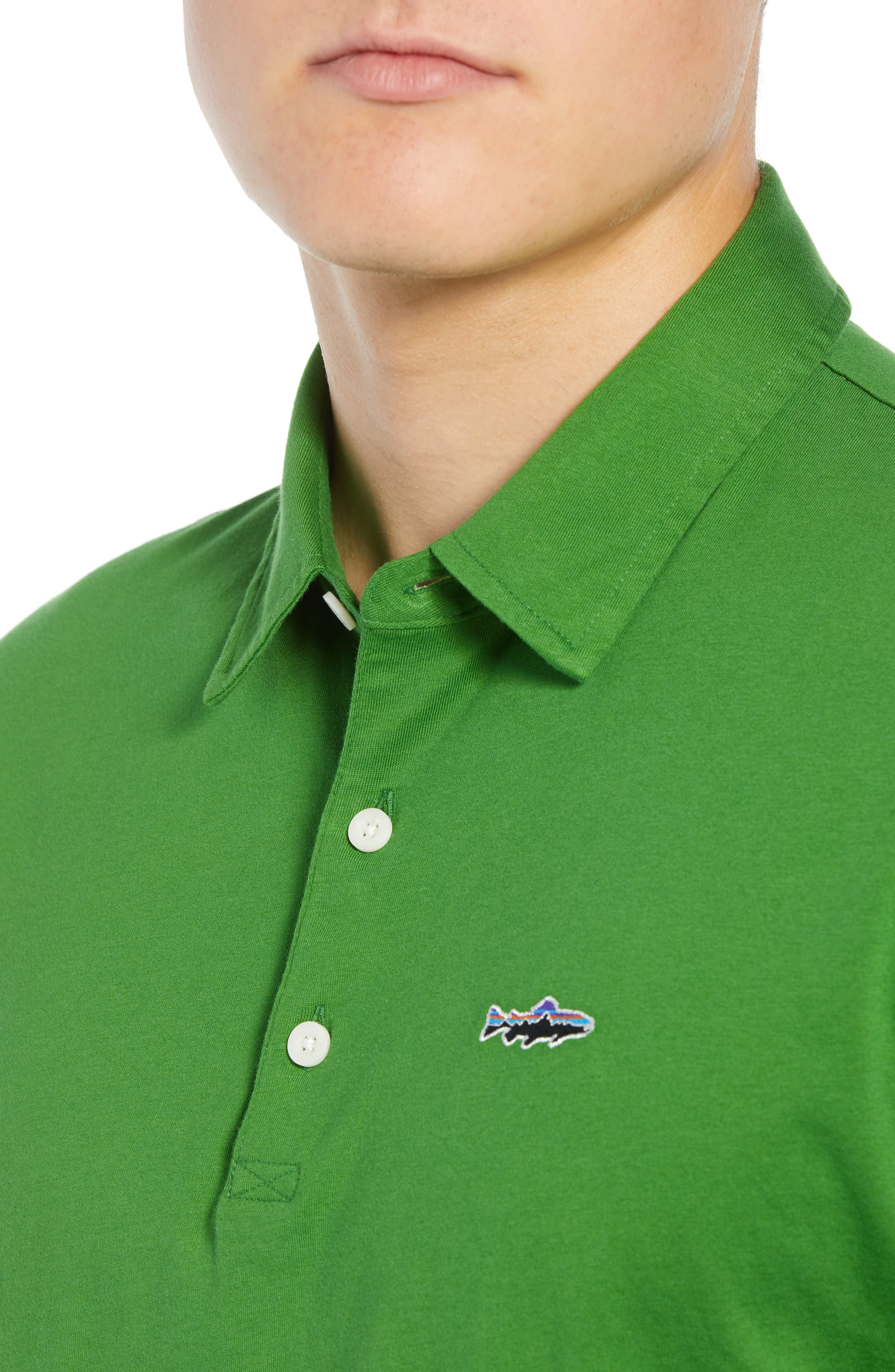 'Trout Fitz Roy' Organic Cotton Polo,                             Alternate thumbnail 4, color,                             MYRTLE GREEN