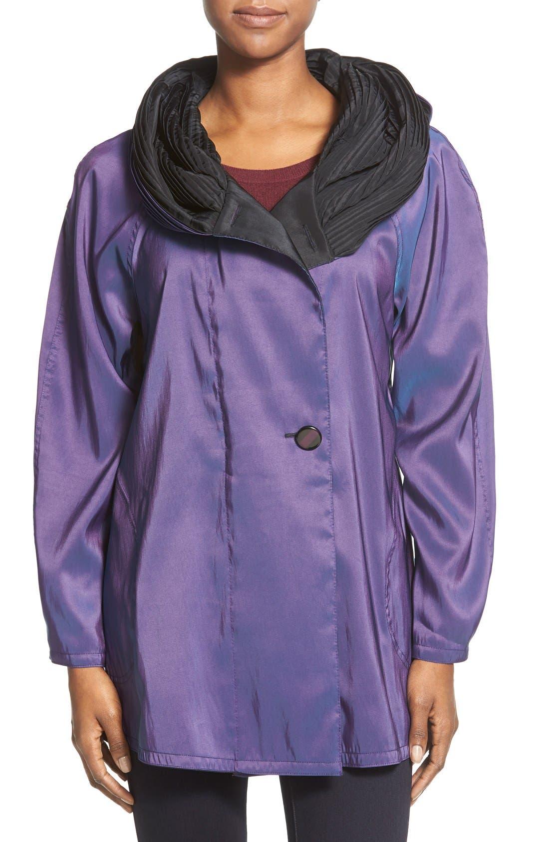 'Mini Donatella' Reversible Pleat Hood Packable Travel Coat,                             Main thumbnail 11, color,