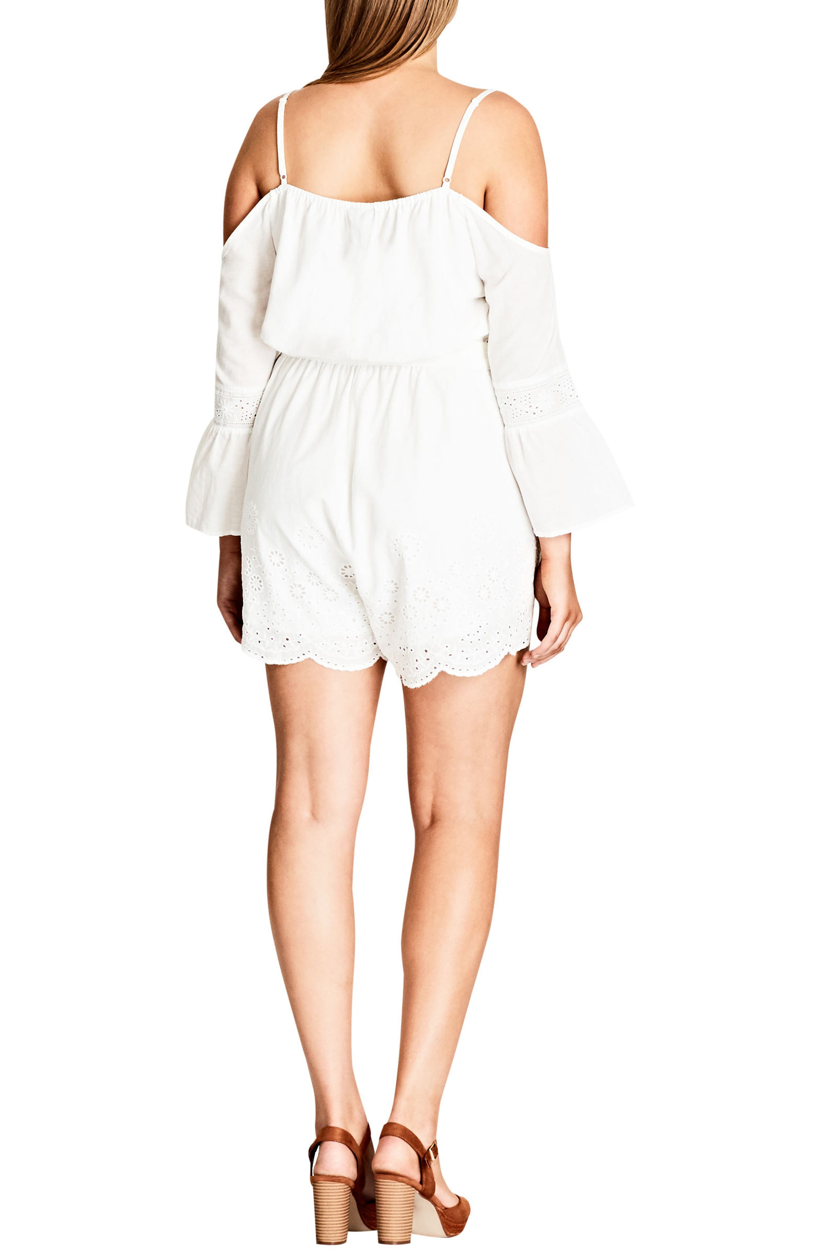 Innocence Cotton Off the Shoulder Romper,                             Alternate thumbnail 2, color,