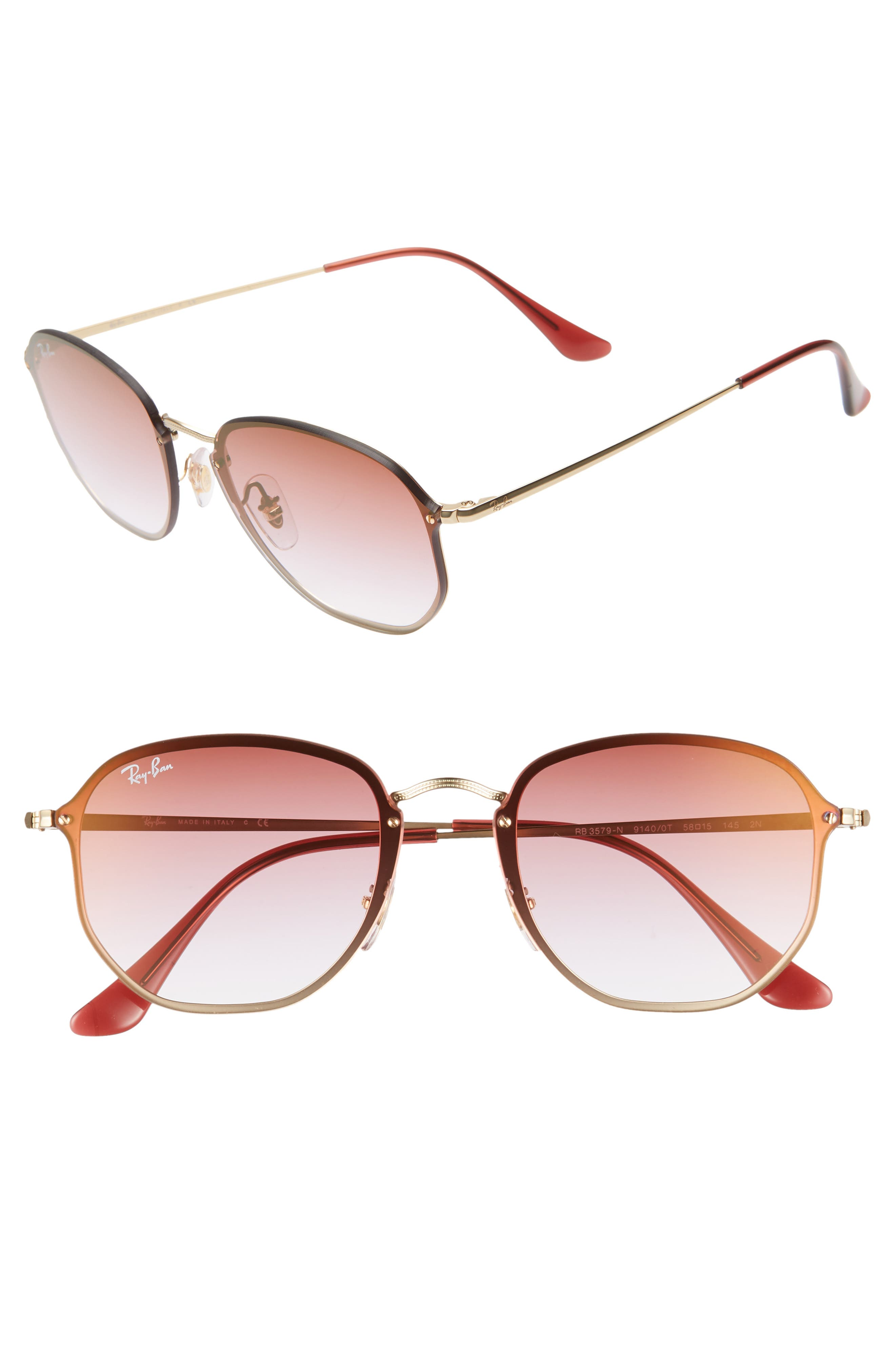 58mm Round Sunglasses,                         Main,                         color, GOLD/ BROWN PINK GRADIENT