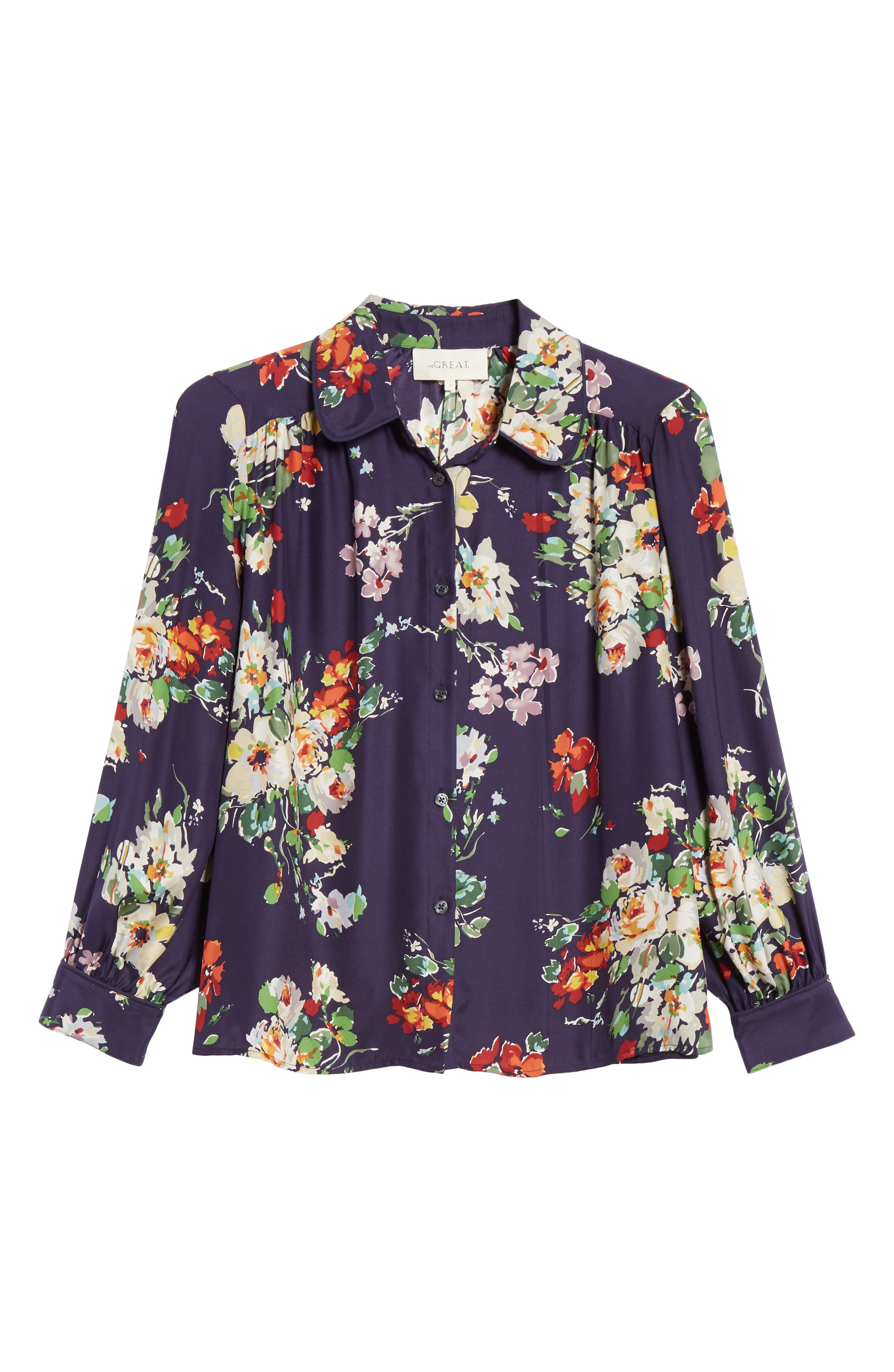 Floral Silk Blouse,                             Alternate thumbnail 6, color,                             NIGHTFALL FLORAL PRINT