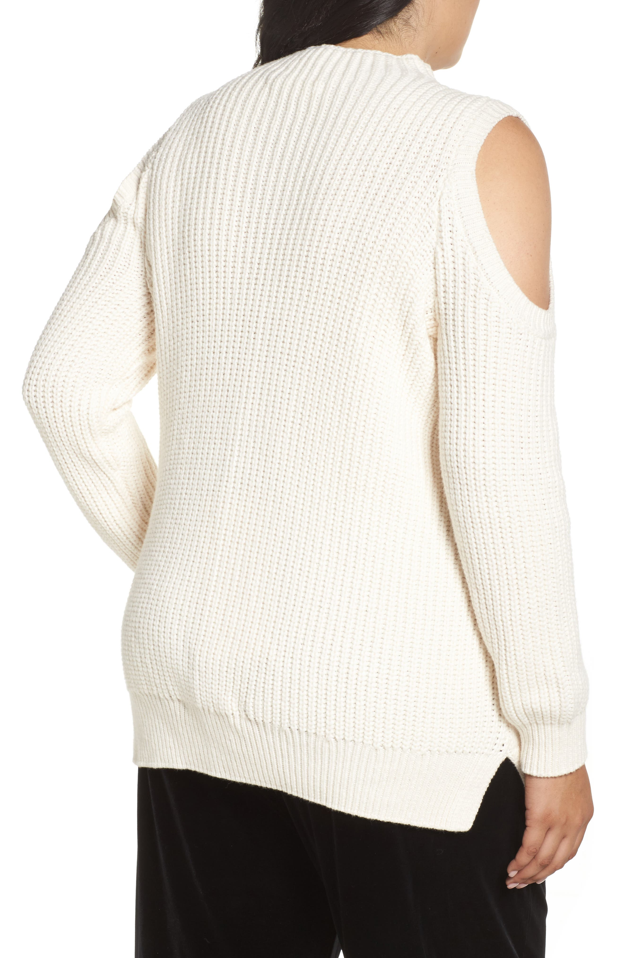 Cold Shoulder Cable Sweater,                             Alternate thumbnail 6, color,
