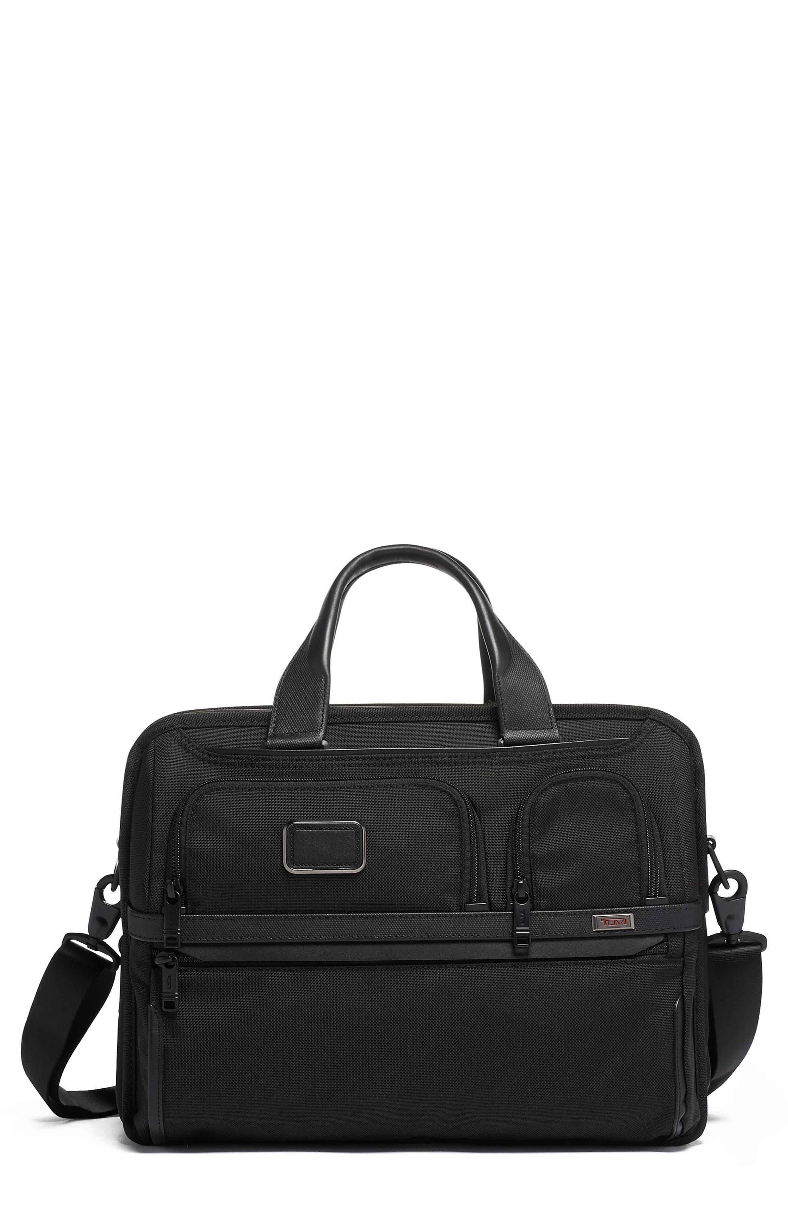 TUMI,                             Alpha 3 T-Pass<sup>®</sup> Expandable Laptop Briefcase,                             Main thumbnail 1, color,                             BLACK