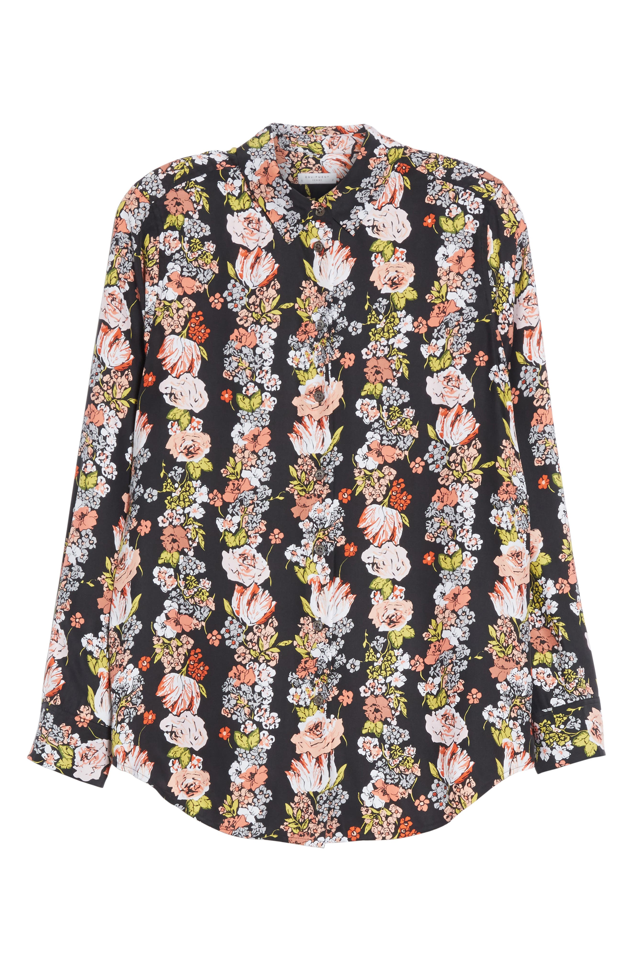 Essential Floral Silk Shirt,                             Alternate thumbnail 6, color,                             006