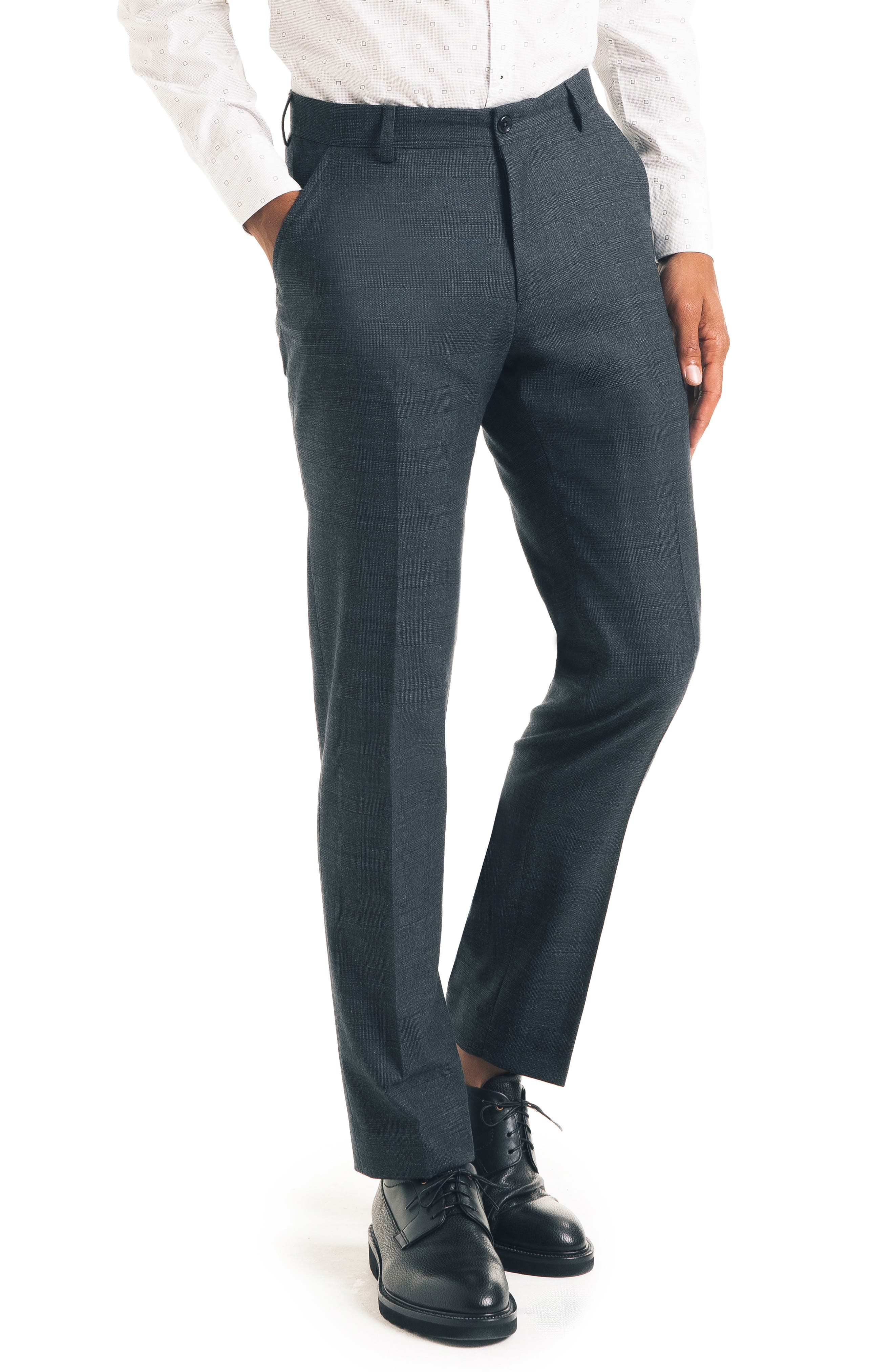 Flat Front Stretch Wool Blend Trousers,                             Main thumbnail 1, color,                             CHARCOAL